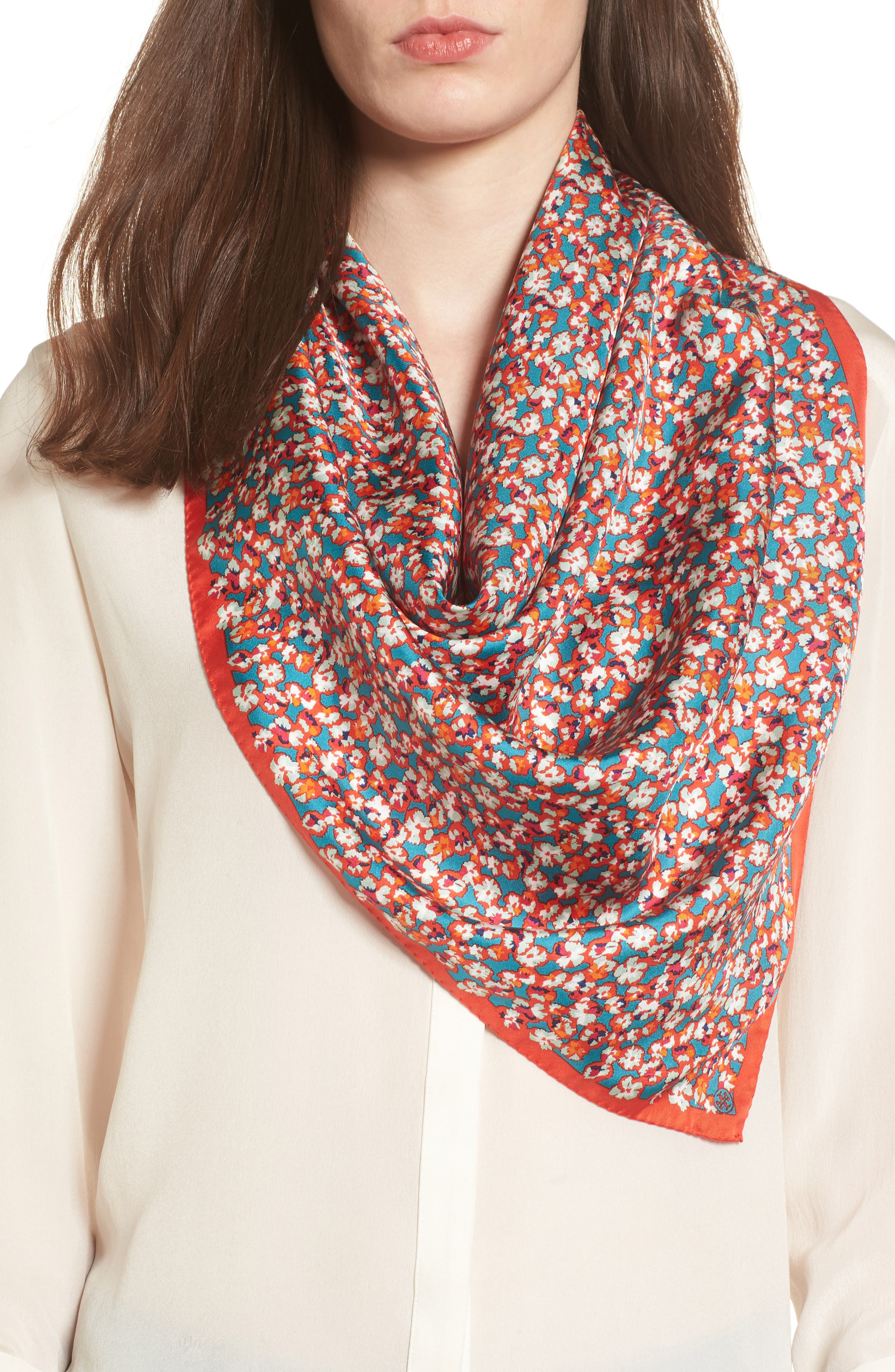 Carnation Silk Square Scarf,                             Main thumbnail 1, color,                             Red