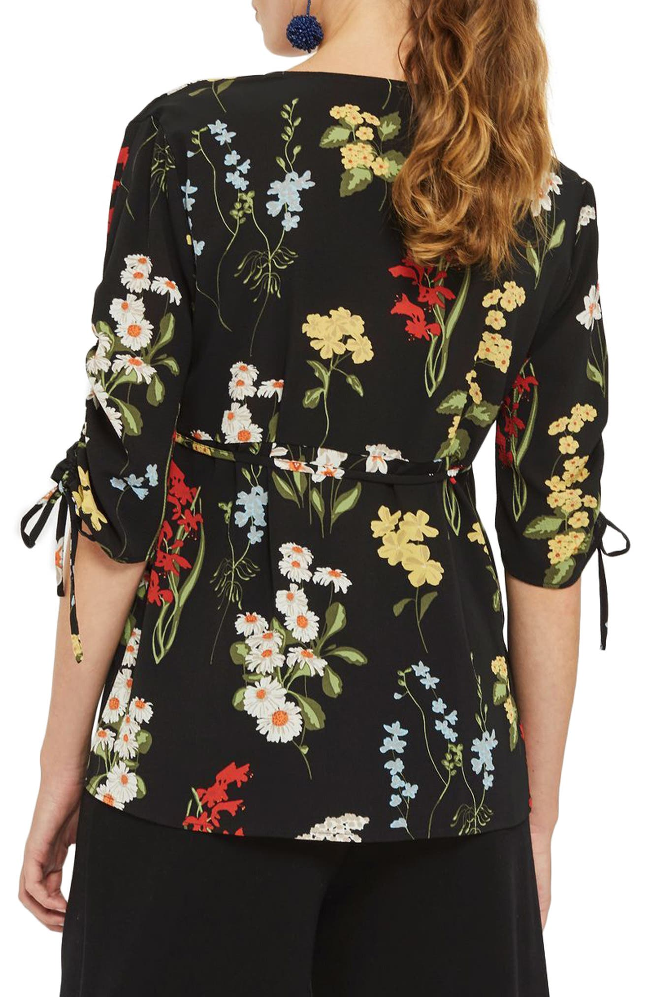 Alternate Image 2  - Topshop Floral Ruched Sleeve Wrap Maternity Blouse