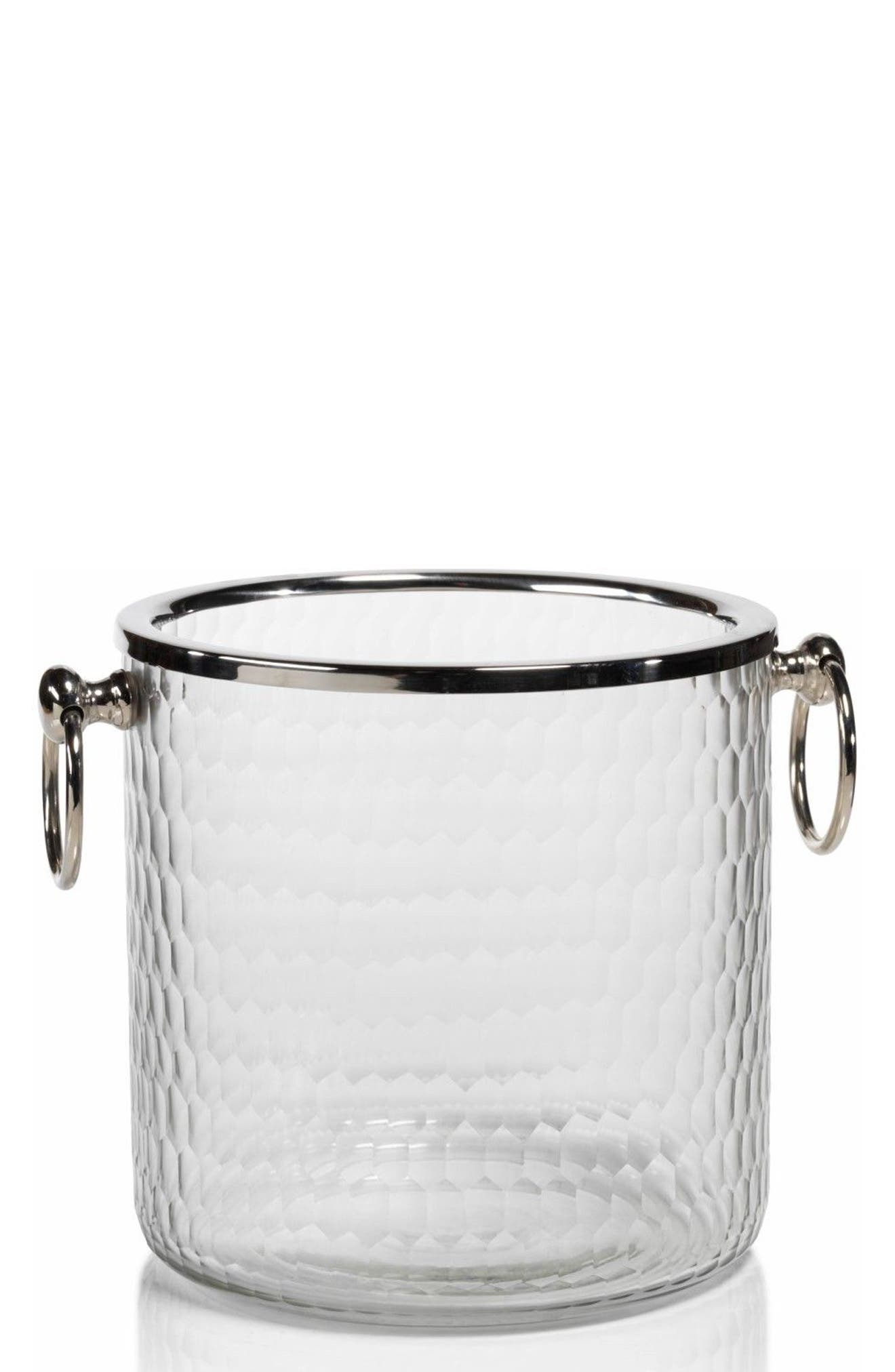 Glass Ice Bucket,                         Main,                         color, Silver/ Clear