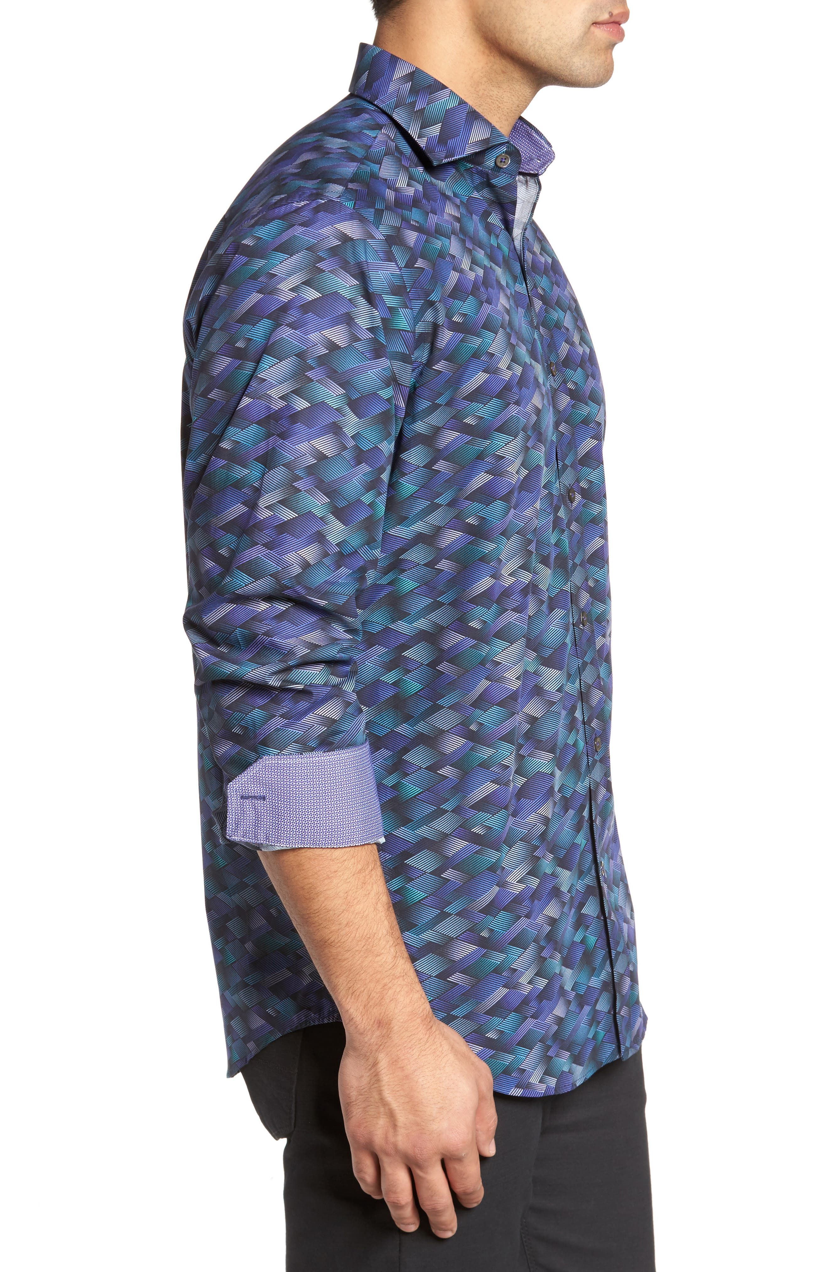 Classic Fit Geo Print Sport Shirt,                             Alternate thumbnail 3, color,                             Orchid