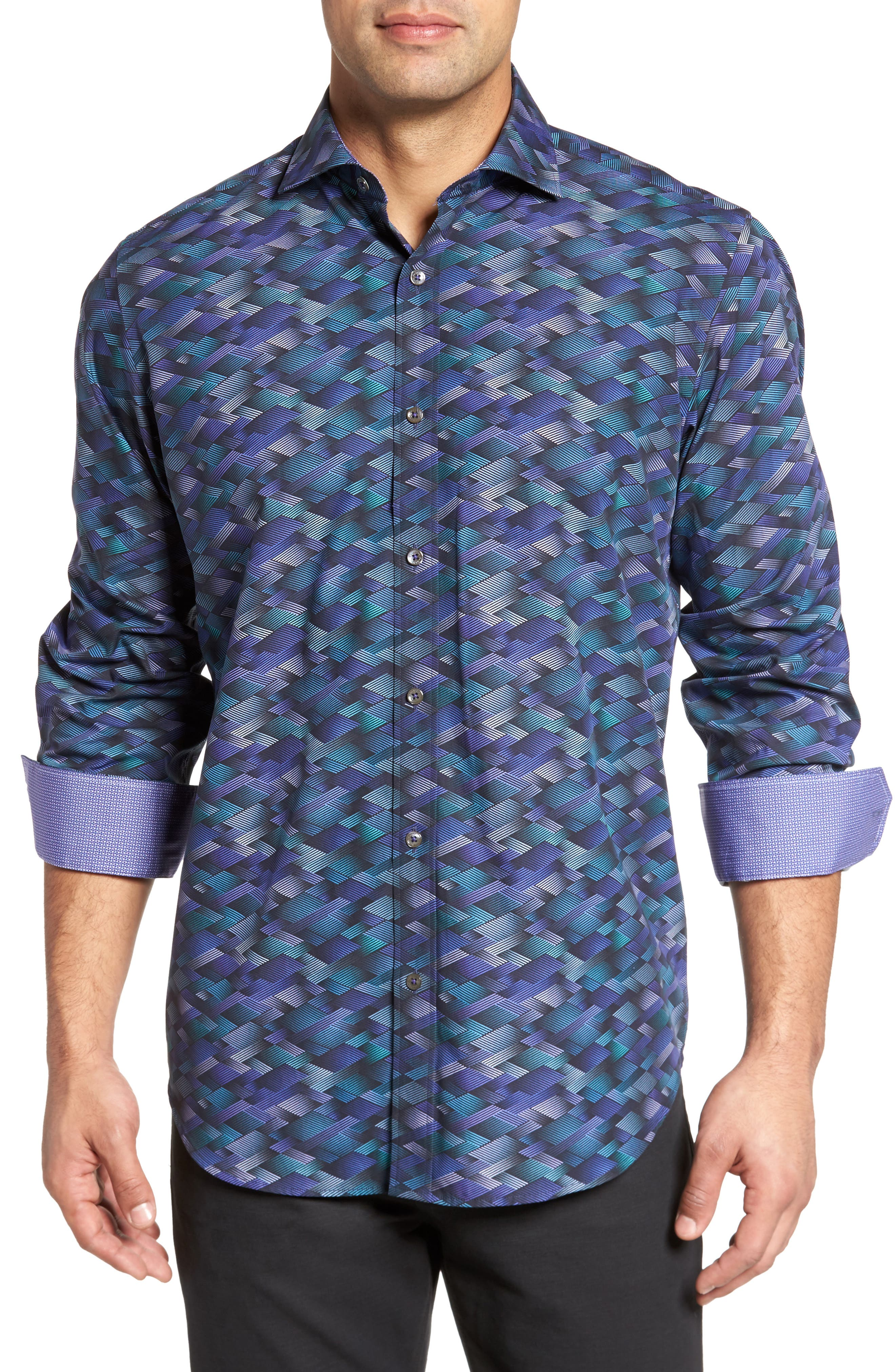 Classic Fit Geo Print Sport Shirt,                         Main,                         color, Orchid