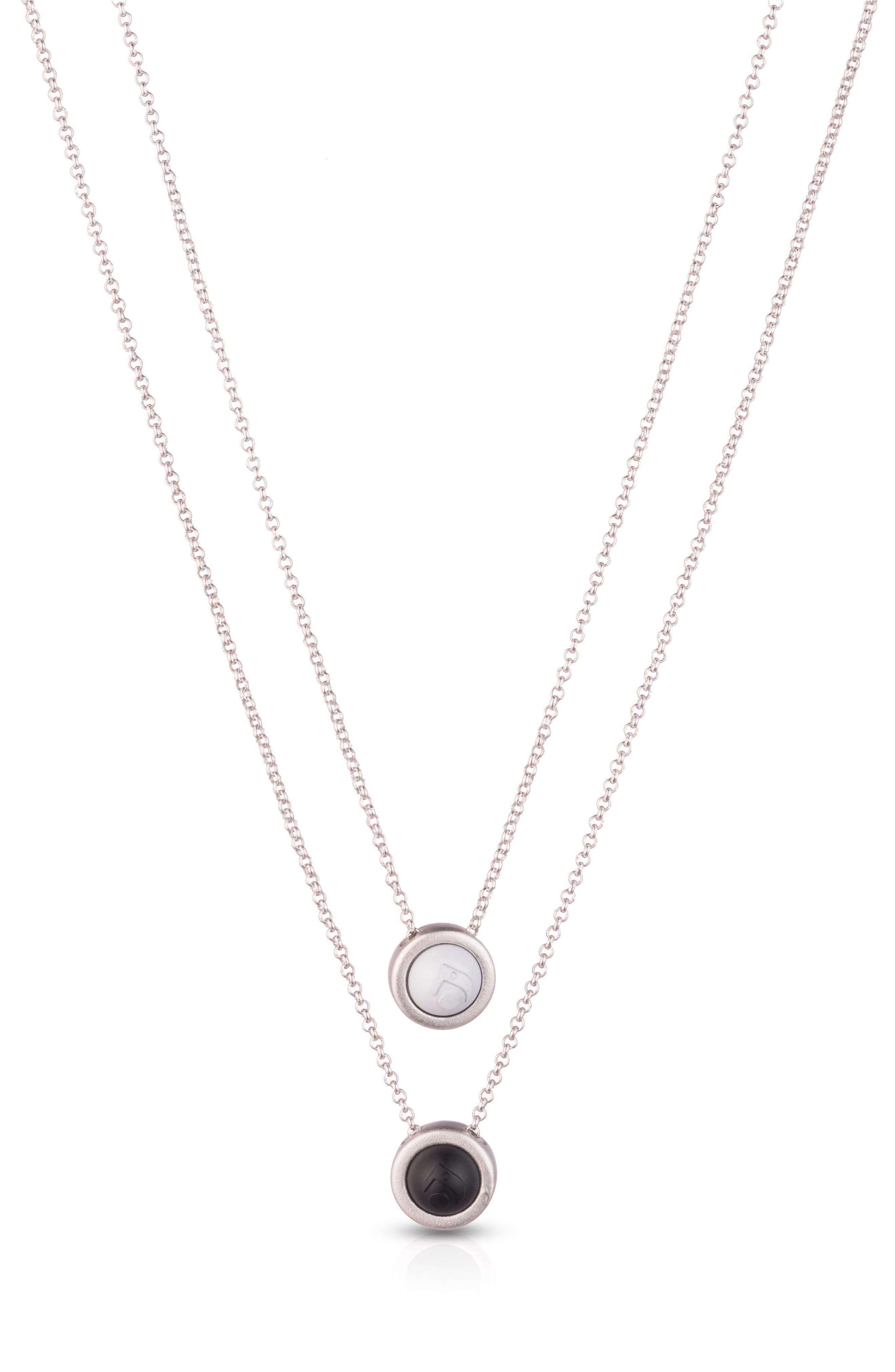 Double Fine Chain Pendant Necklace,                             Main thumbnail 1, color,                             Silver
