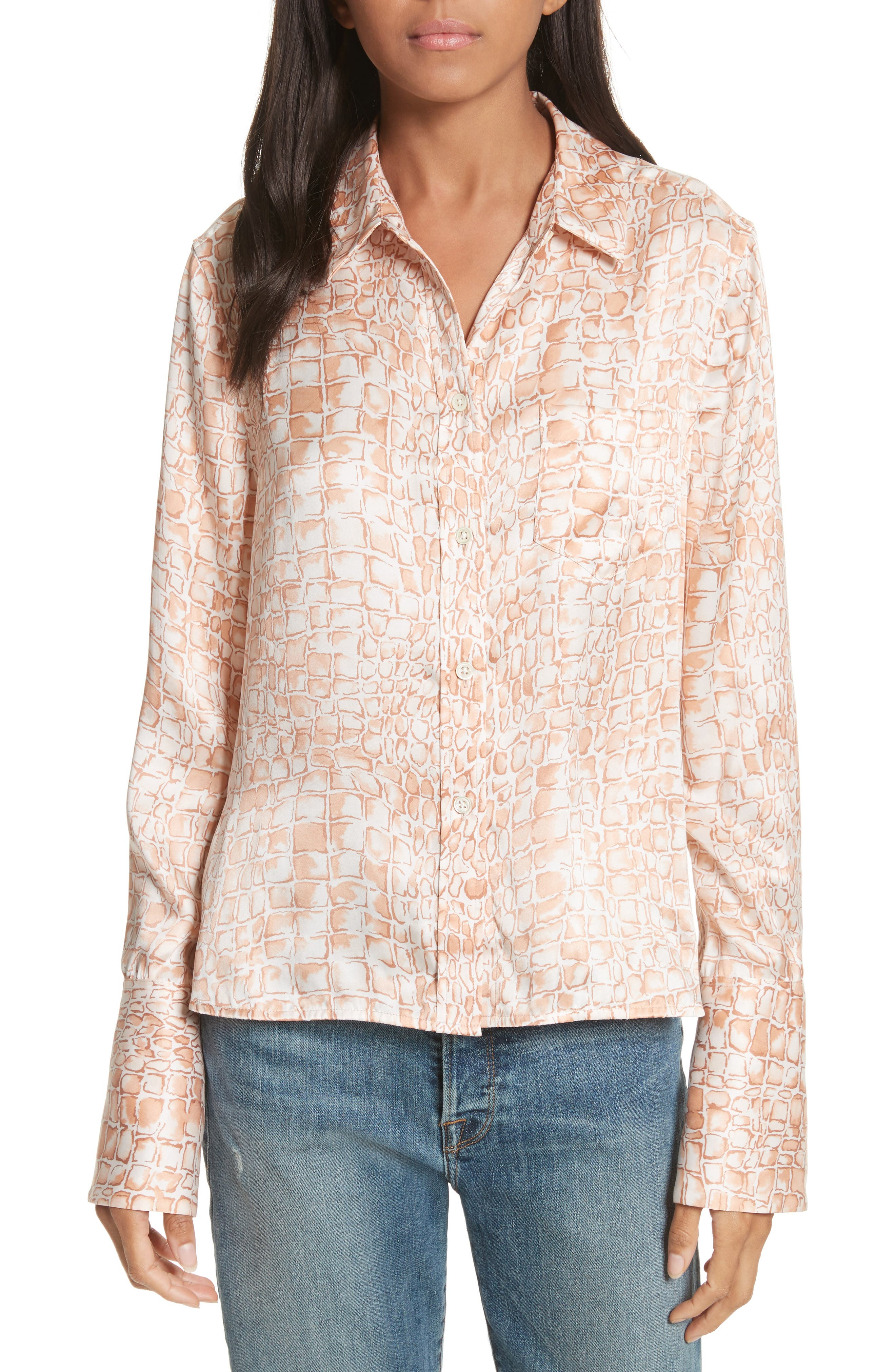 Huntley Silk Blouse,                         Main,                         color, Flushed Multi
