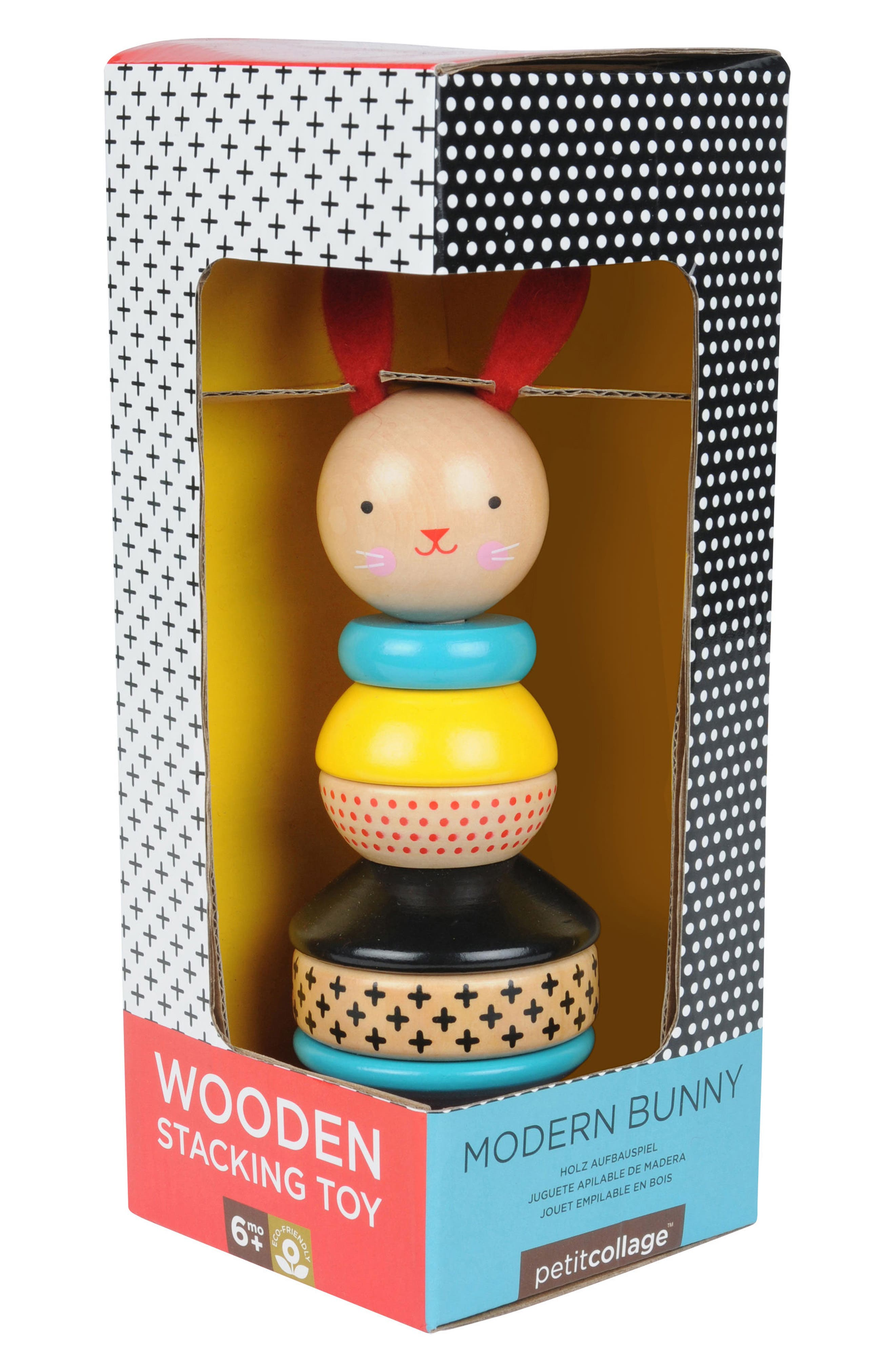 Petit Collage 8-Piece Modern Bunny Wooden Stacking Toy