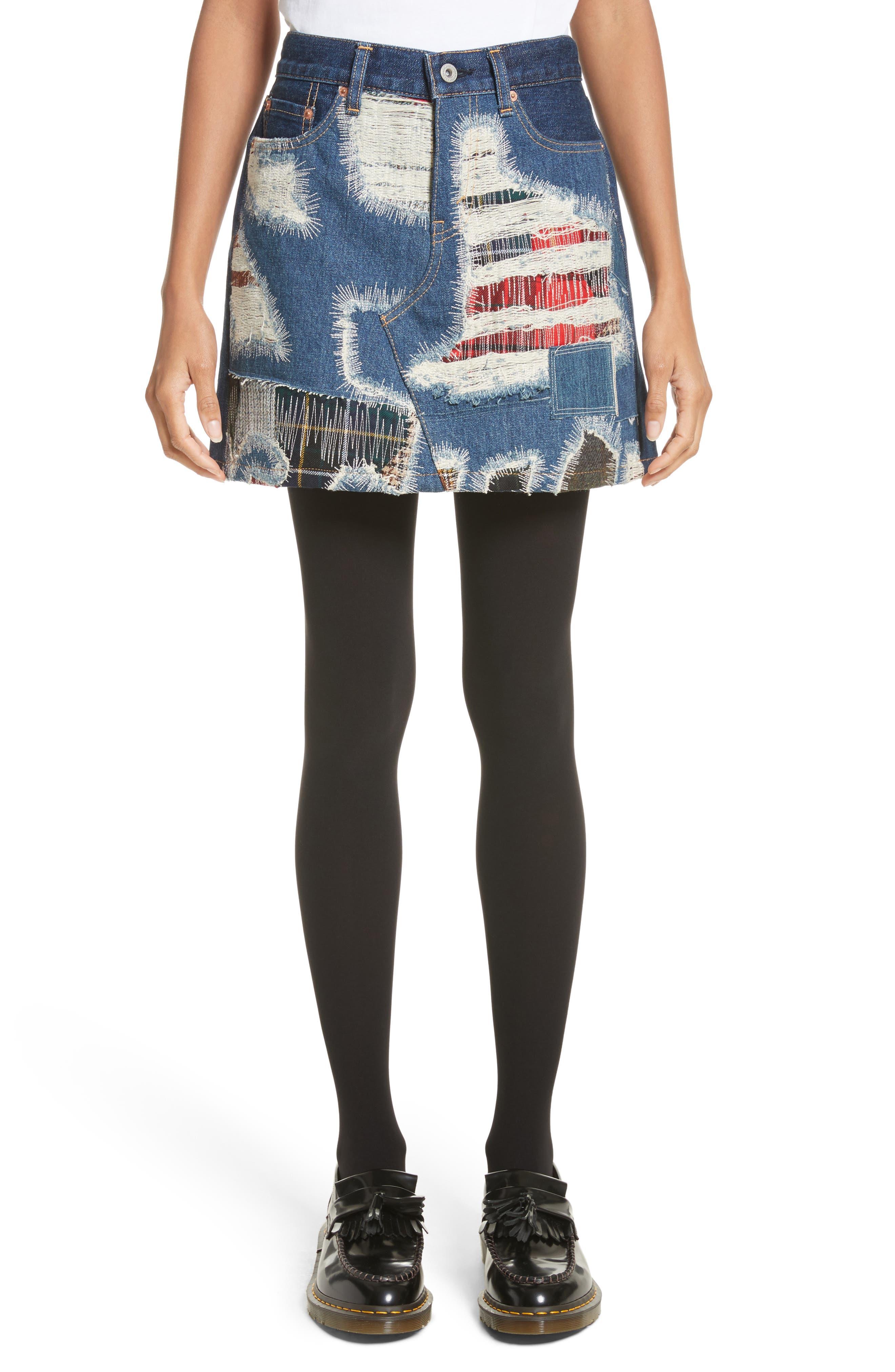 Junya Watanabe Distressed Patch Denim Miniskirt