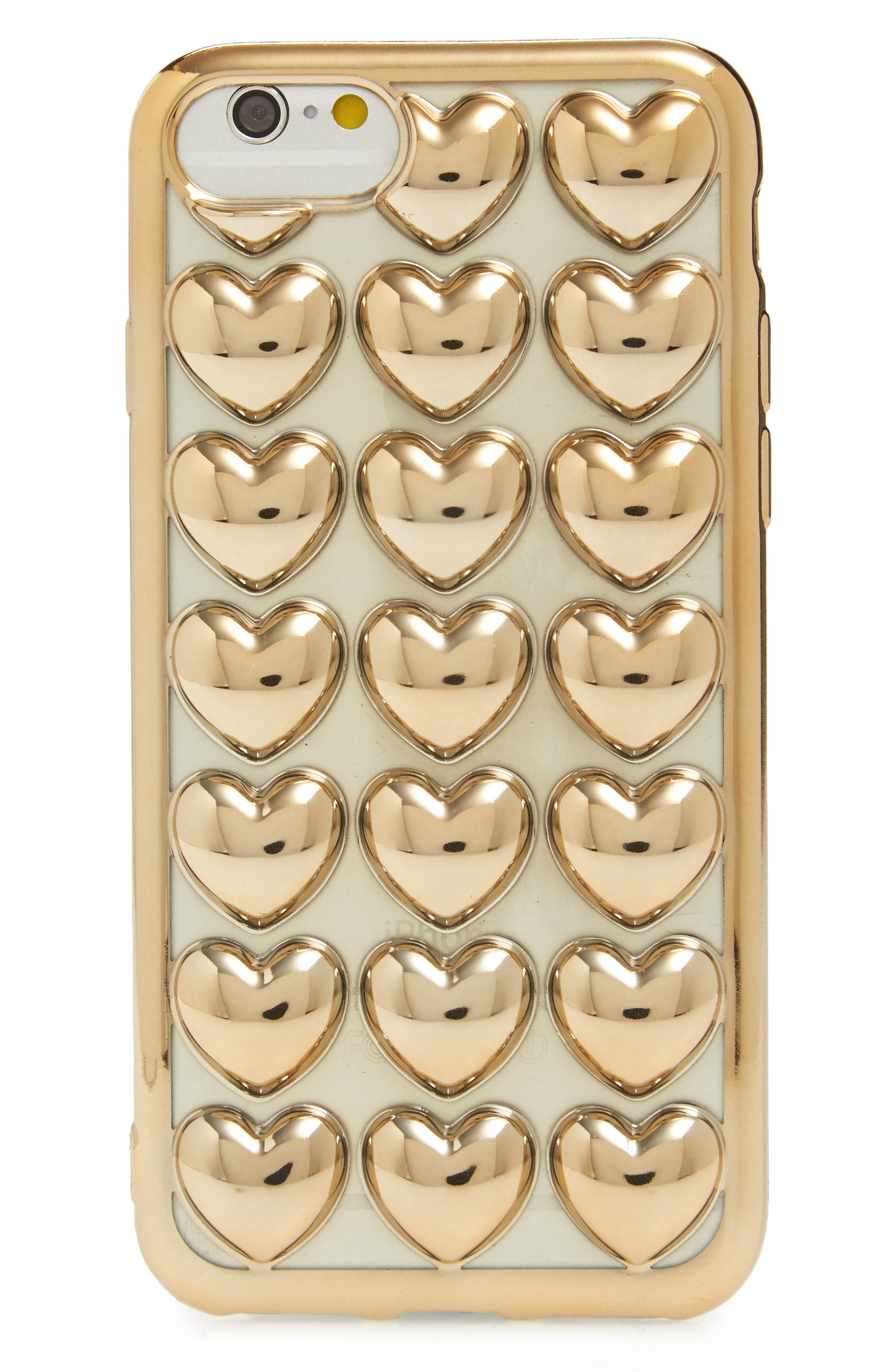 Bubble Heart iPhone 6/6s/7 Case,                             Main thumbnail 1, color,                             Gold