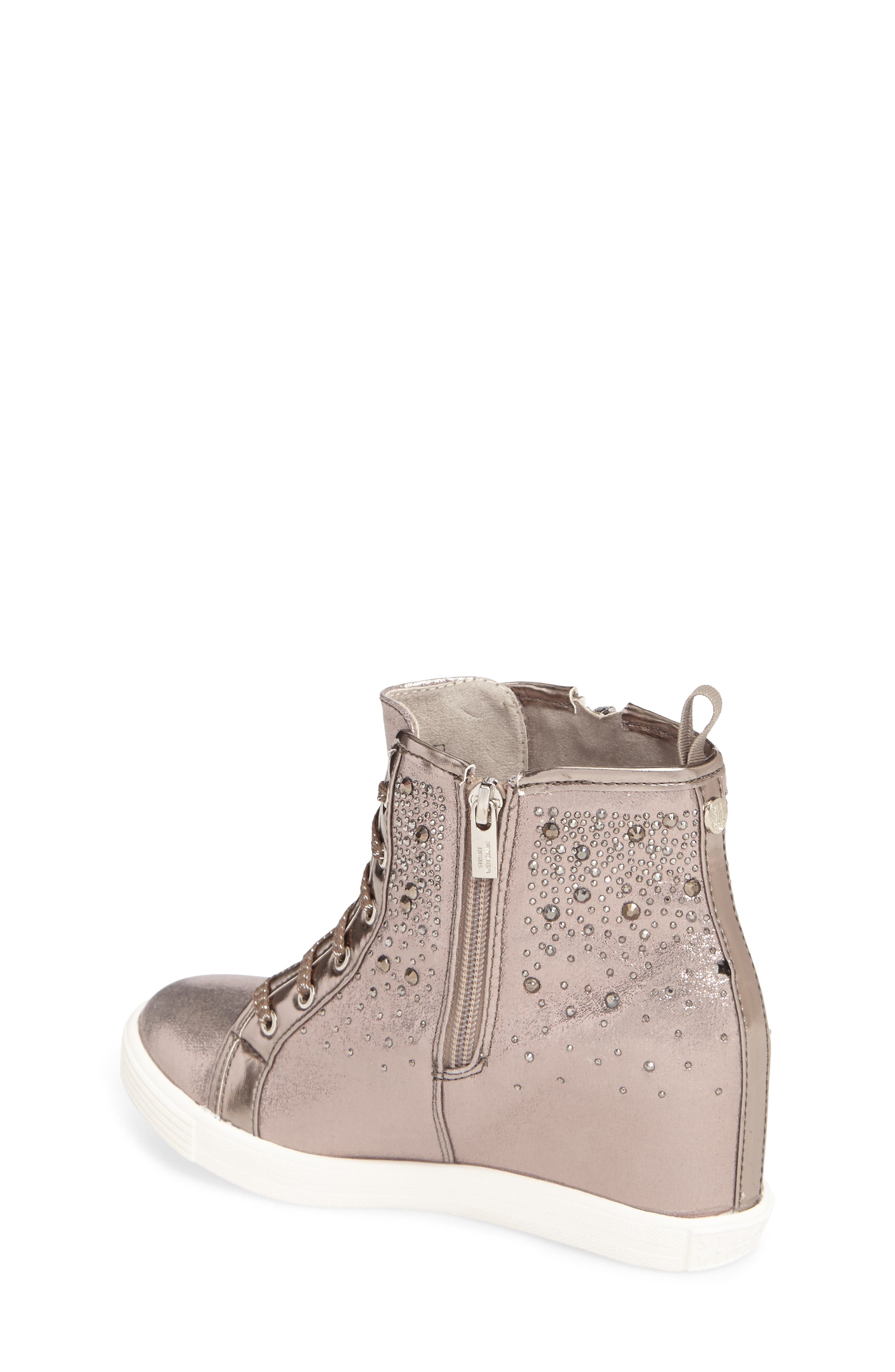 Vance Double Embellished Concealed Wedge High Top,                             Alternate thumbnail 2, color,                             Pewter