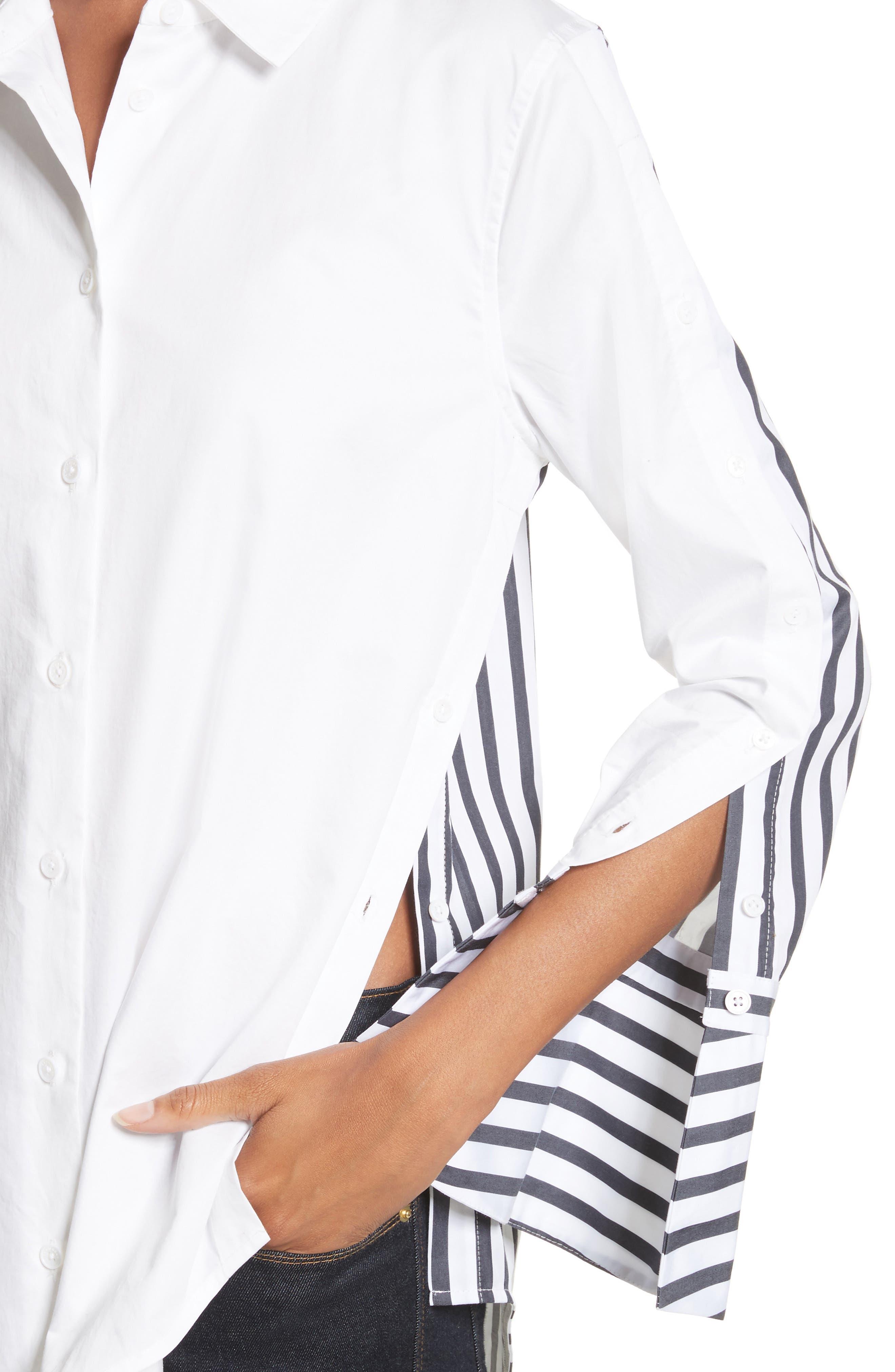 Rossi Contrast Stripe Button Down Shirt,                             Alternate thumbnail 4, color,                             Bright White/ Eclipse