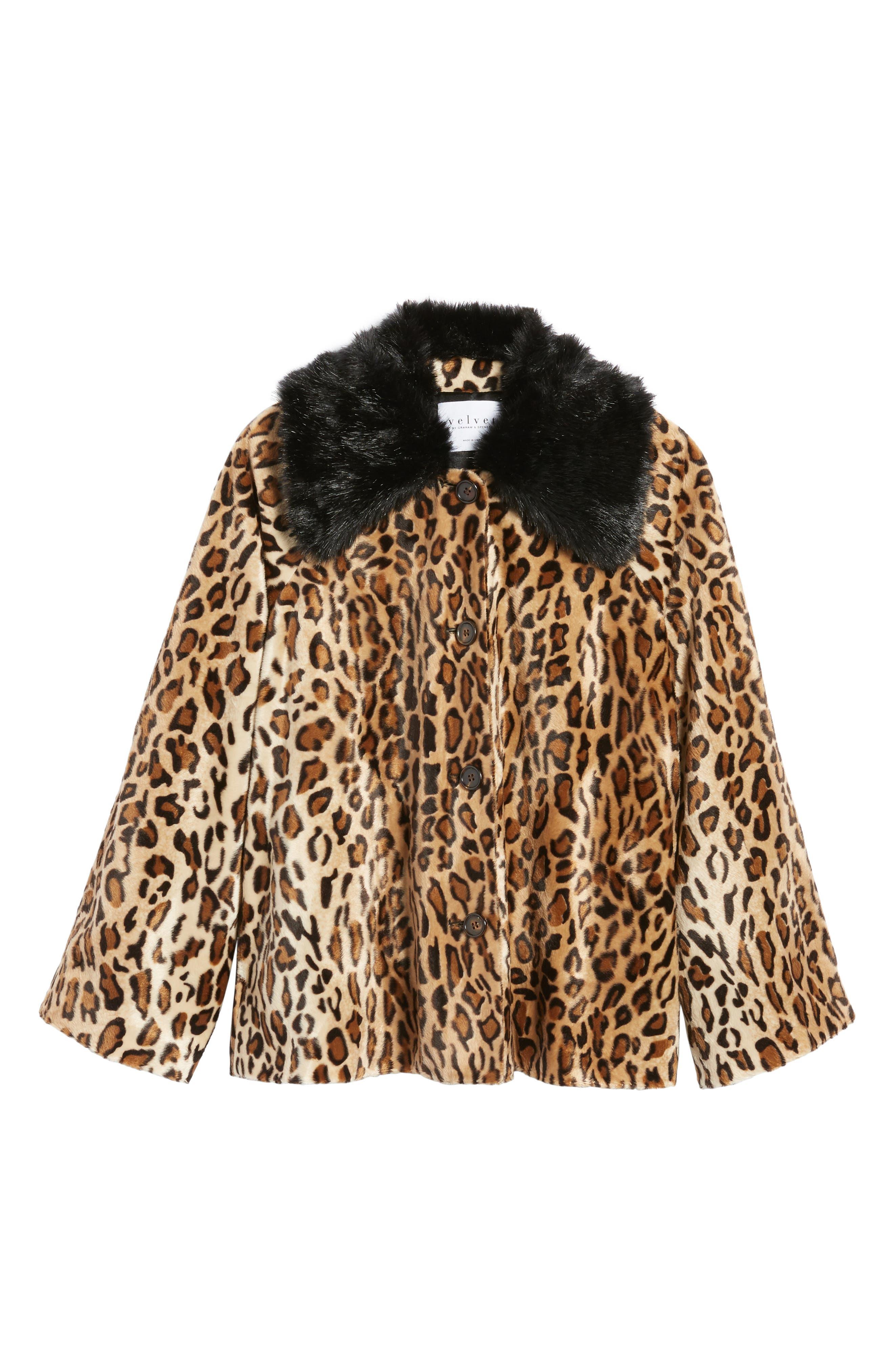 Faux Fur Leopard Jacket,                             Alternate thumbnail 6, color,                             Leopard