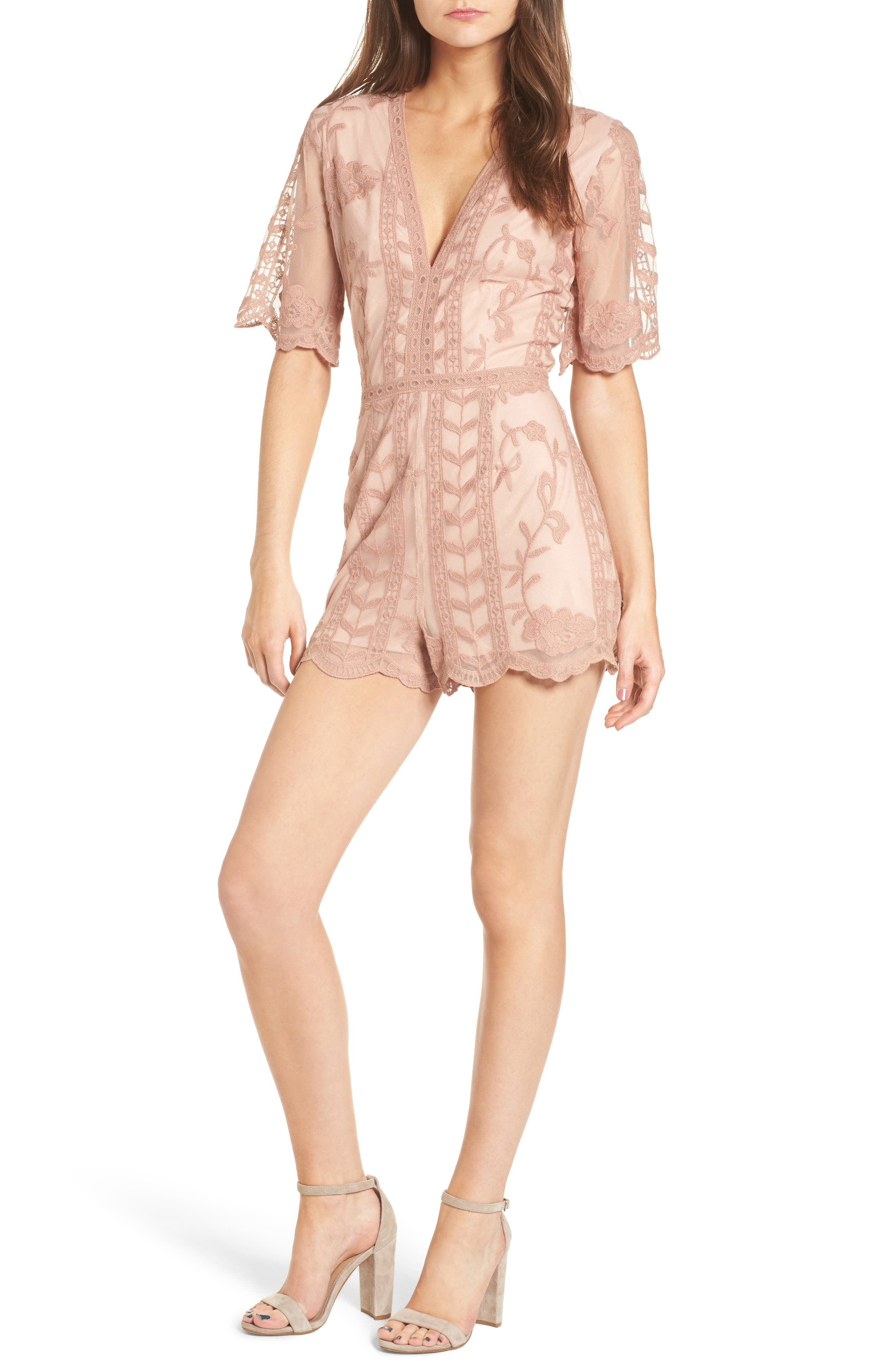Main Image - Socialite Plunging Lace Romper