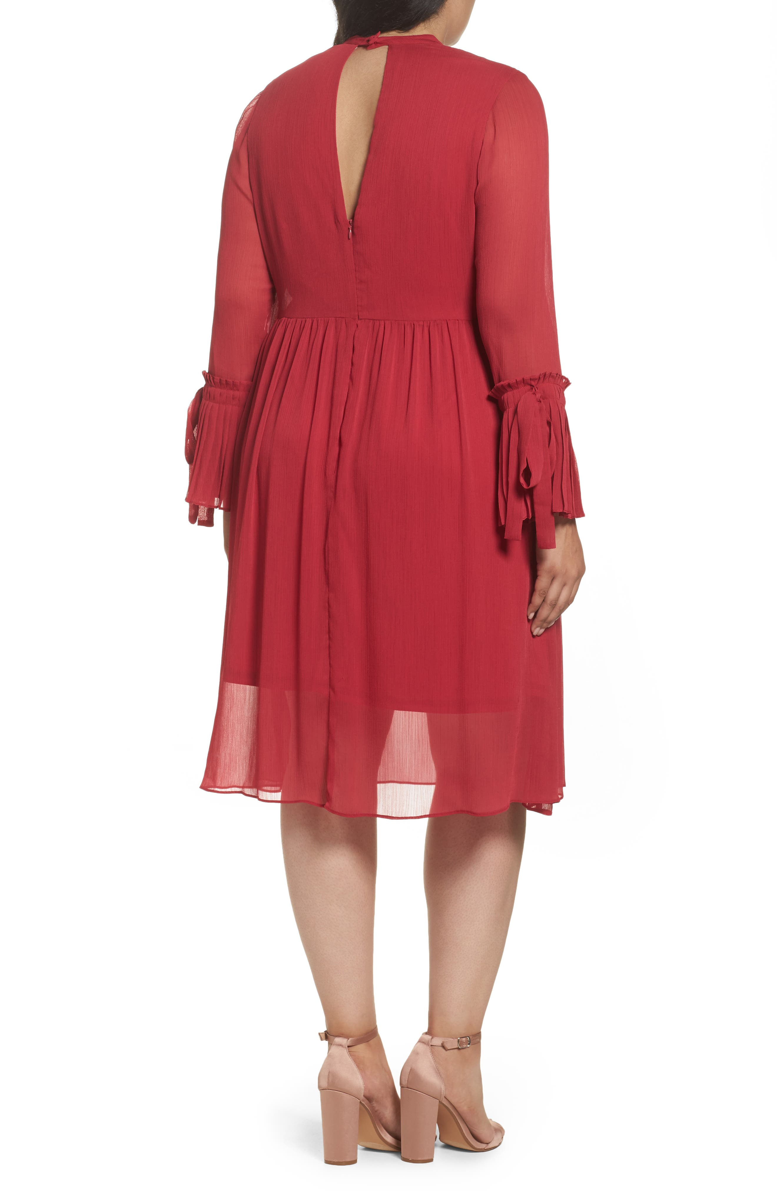 Pleat Cuff Fit & Flare Dress,                             Alternate thumbnail 3, color,                             Pink