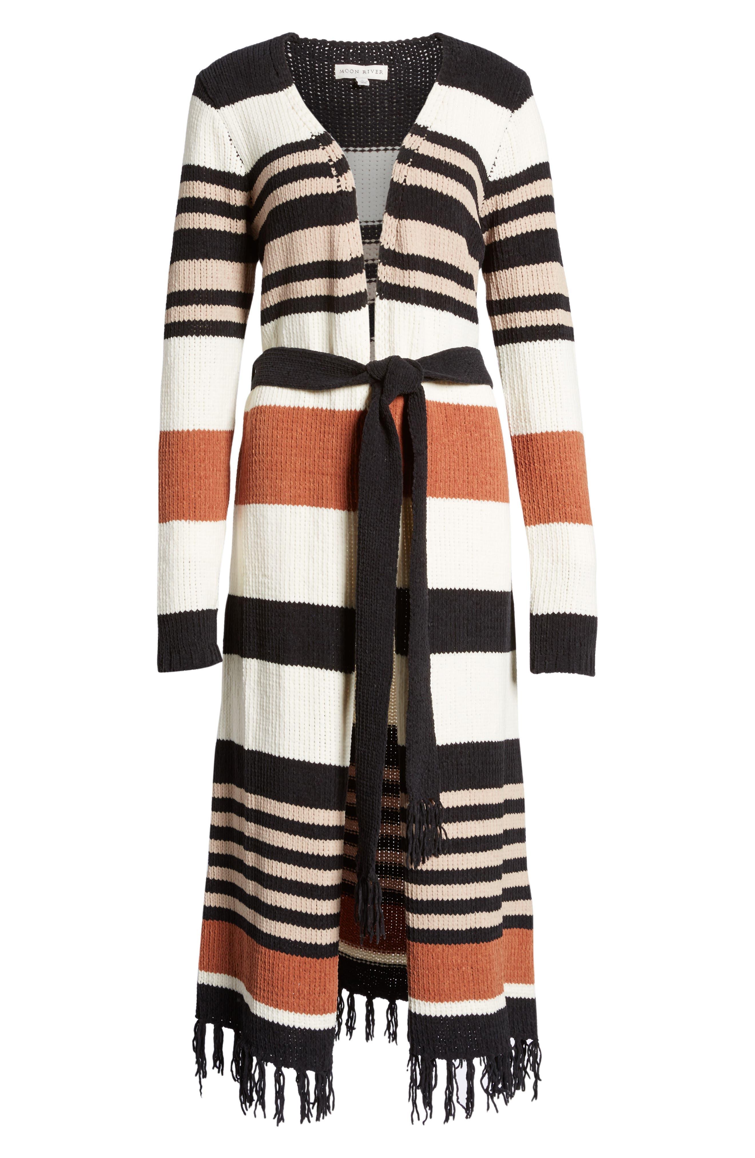 Belted Stripe Knit Duster,                             Alternate thumbnail 6, color,                             Black Stripe