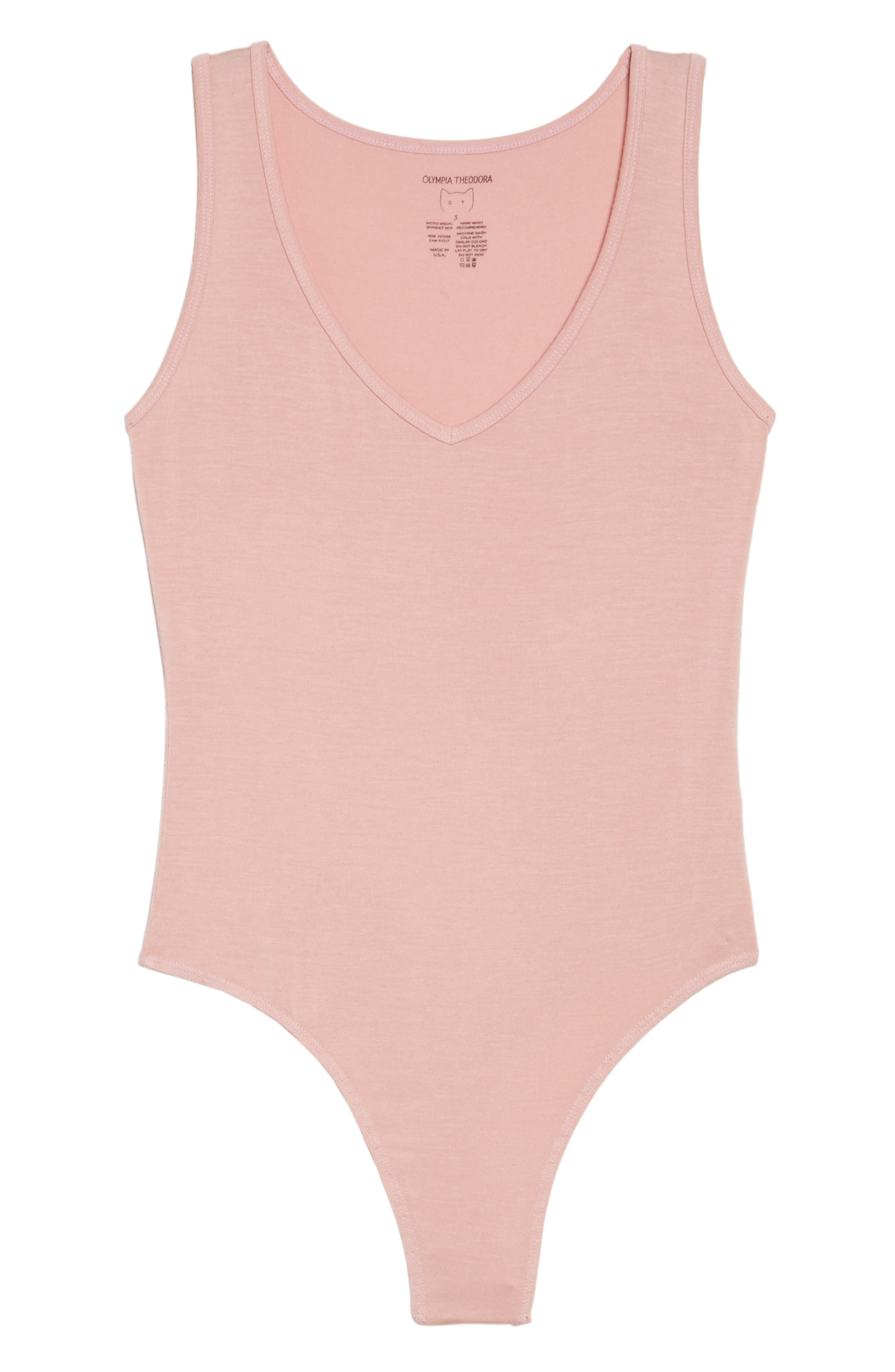Jenny V-Neck Thong Bodysuit,                             Alternate thumbnail 6, color,                             Dream Pink
