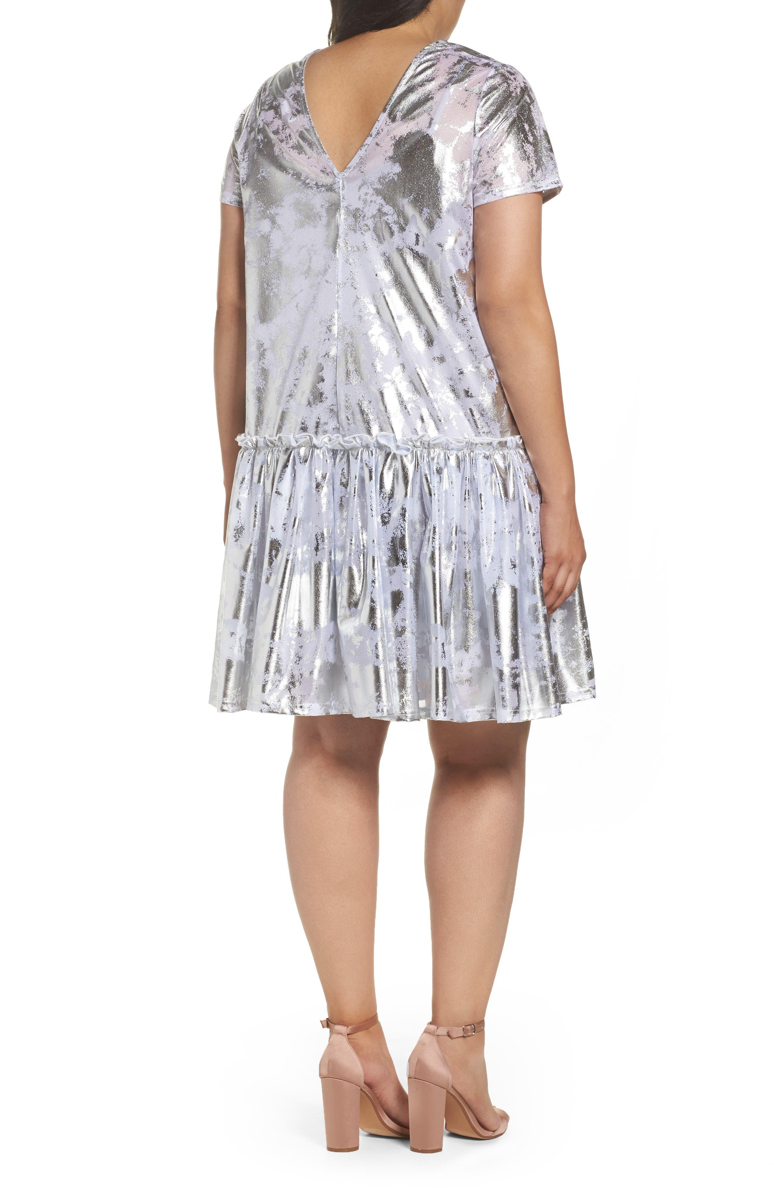 Metallic Swing Dress,                             Alternate thumbnail 3, color,                             Silver