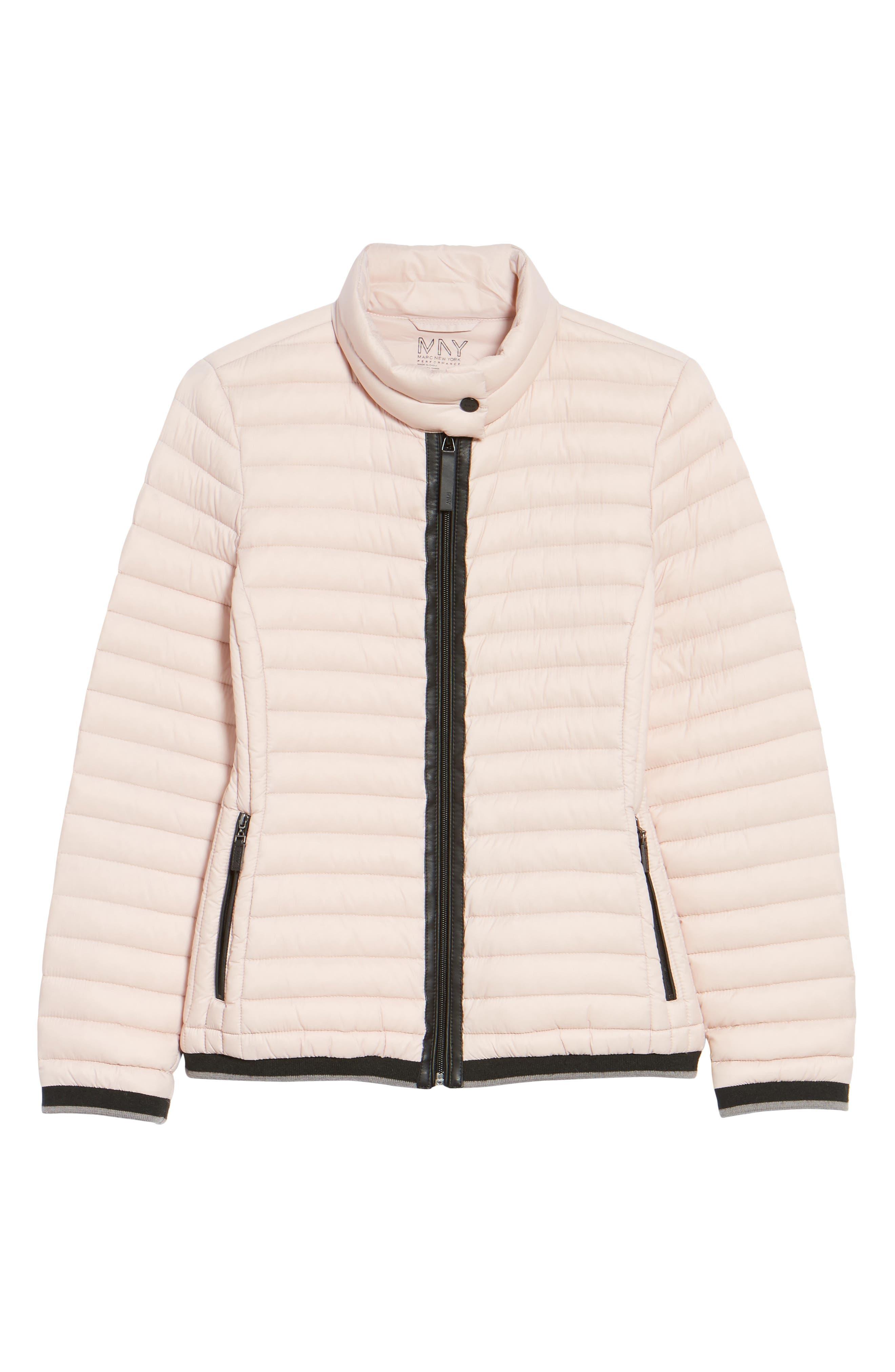 Stripe Trim Packable Down Jacket,                             Alternate thumbnail 5, color,                             Chablis