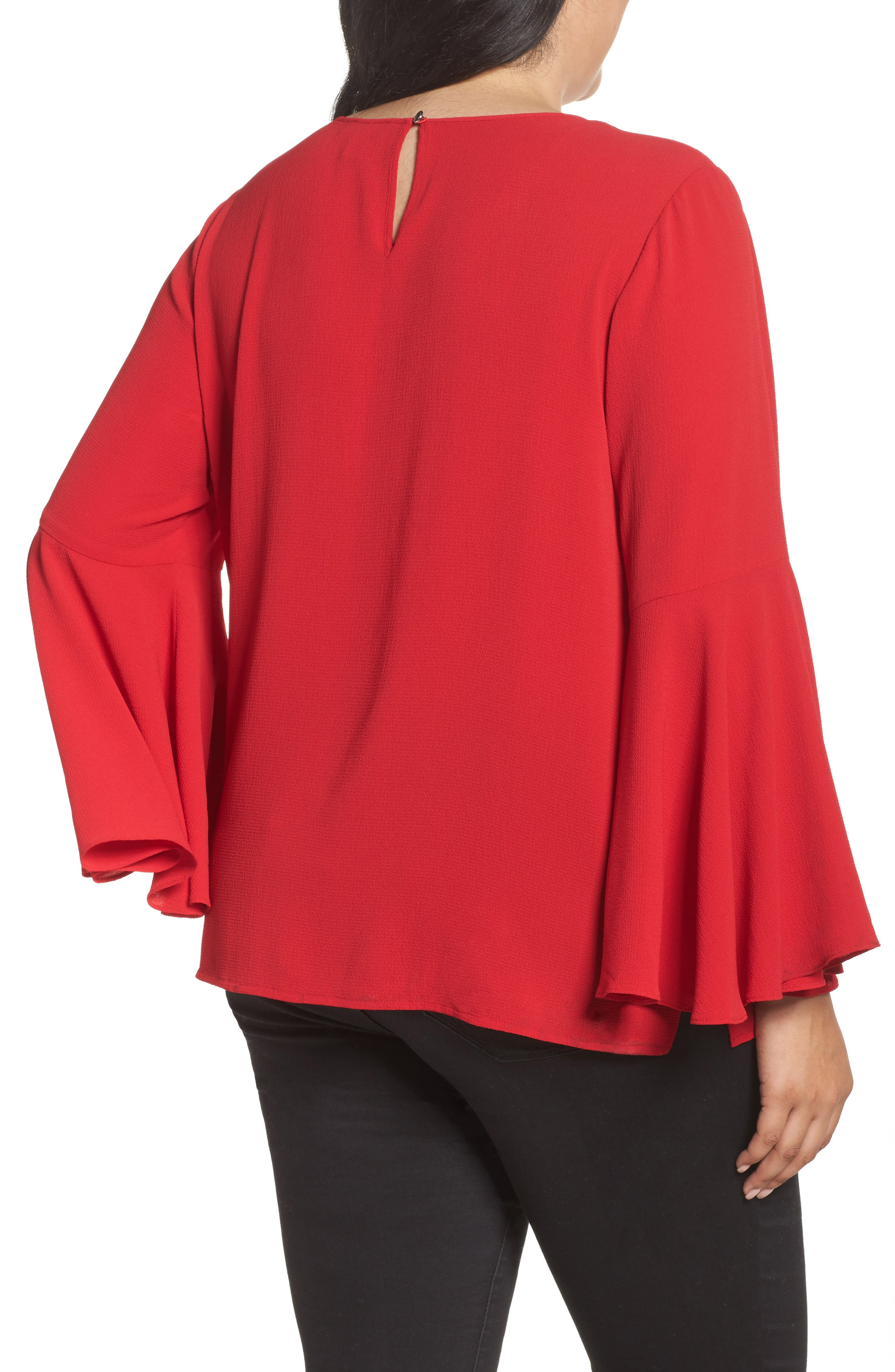 Alternate Image 2  - Vince Camuto Bell Sleeve Blouse (Plus Size)