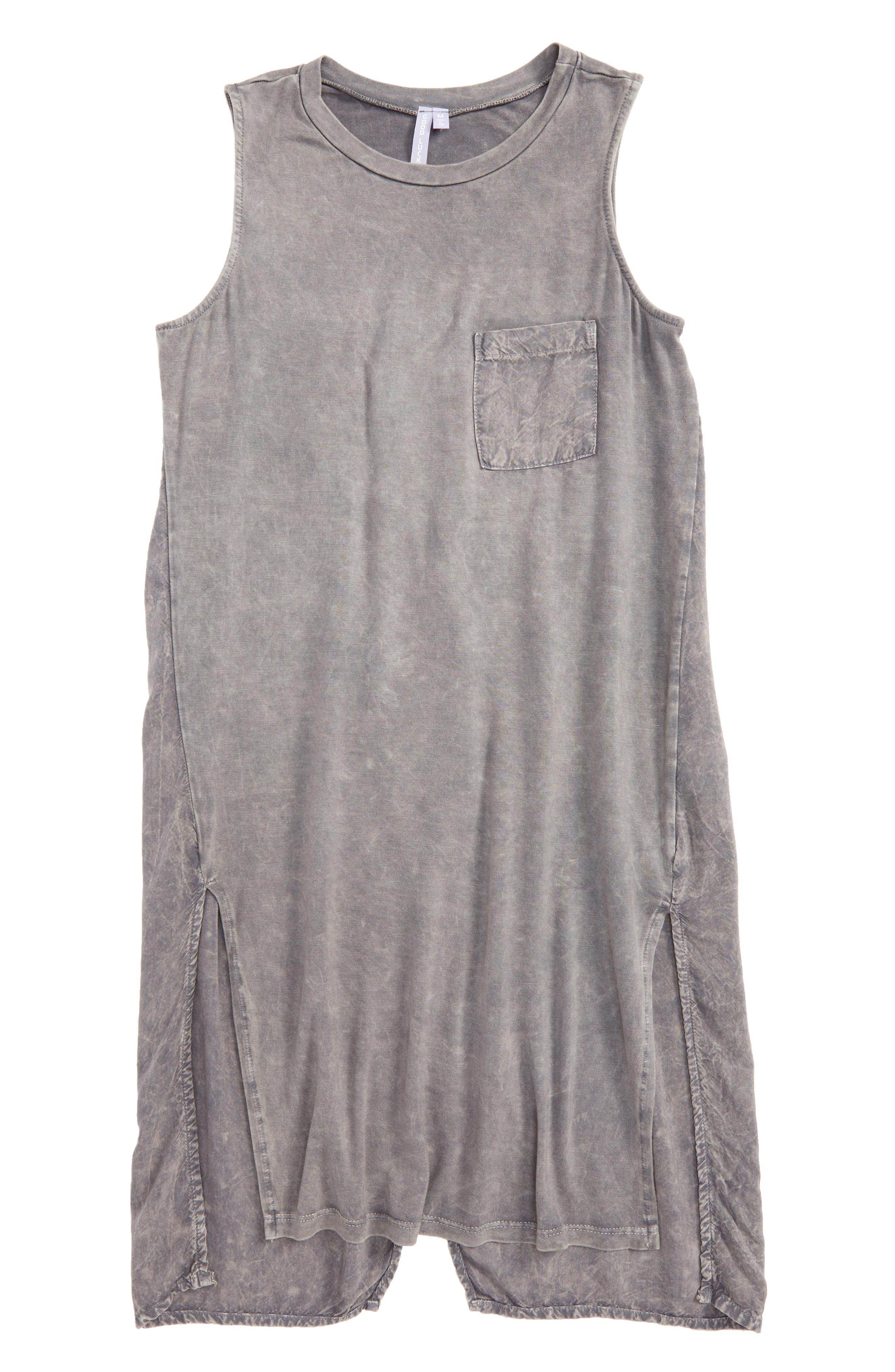 Mineral Wash Sleeveless Tunic,                             Main thumbnail 1, color,                             Charcoal