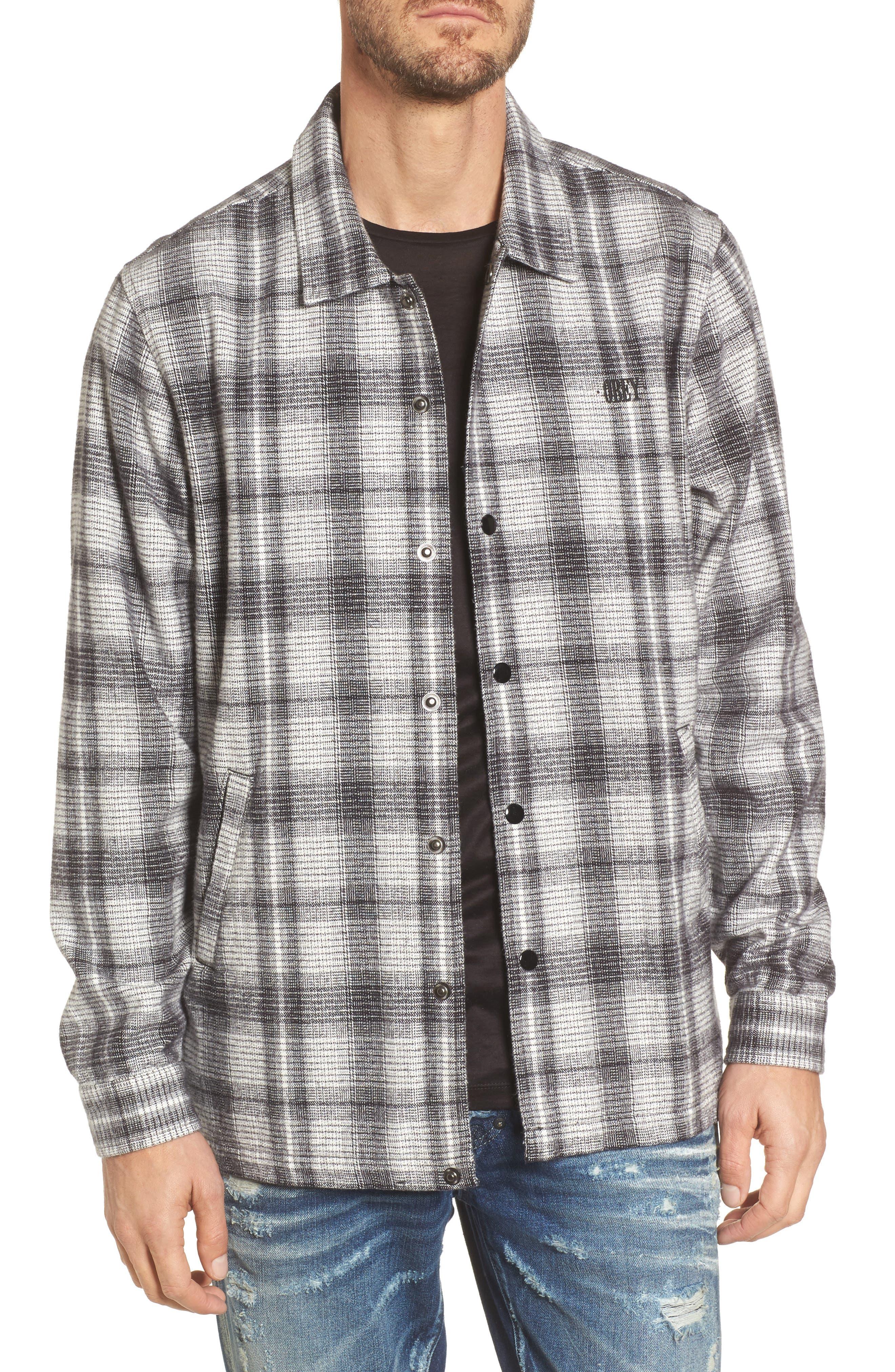 Whittier Plaid Flannel Shirt Jacket,                             Main thumbnail 1, color,                             Neutral Grey Multi