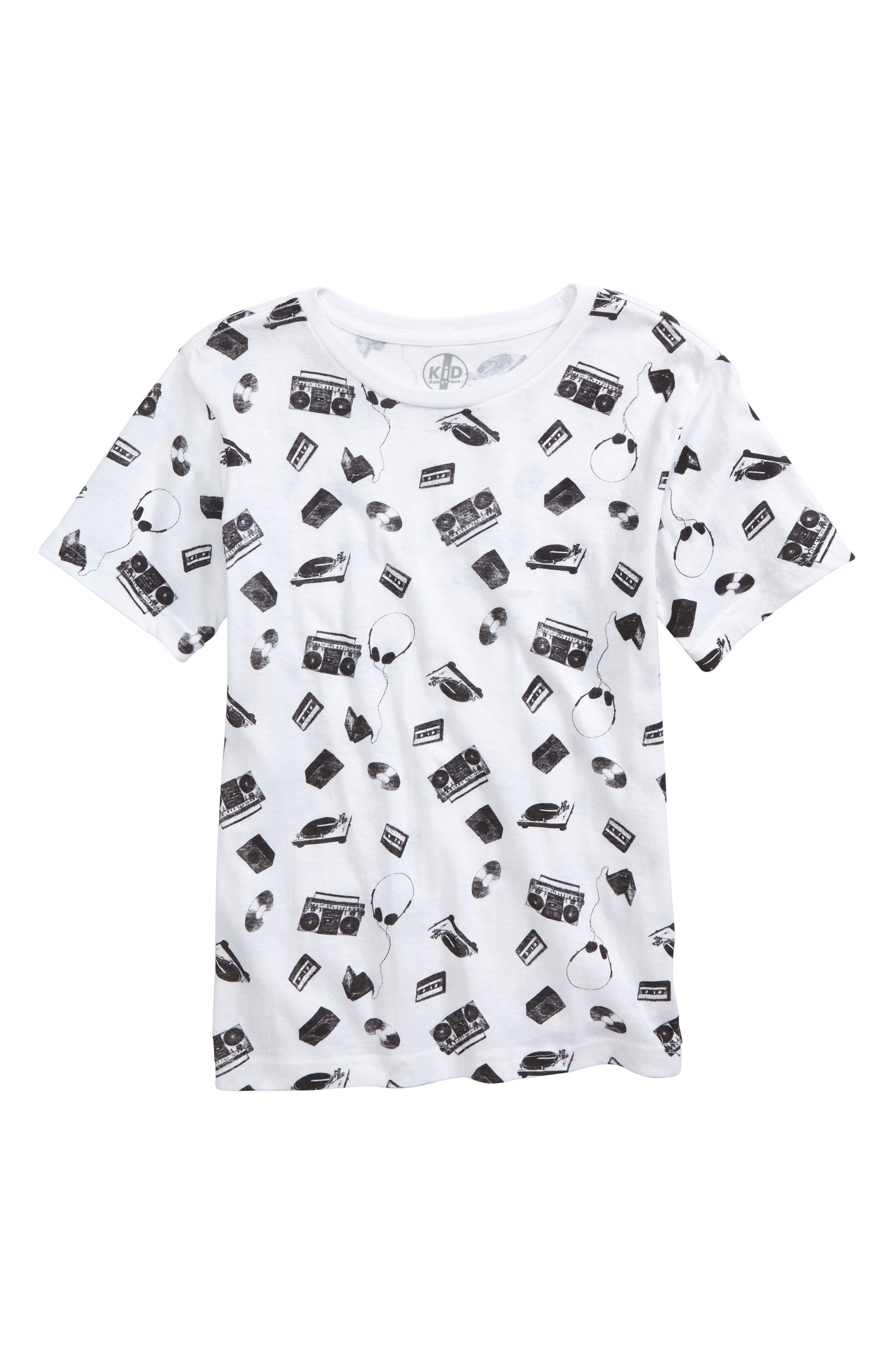 Kid Dangerous Music All Over Graphic T-Shirt (Big Boys)