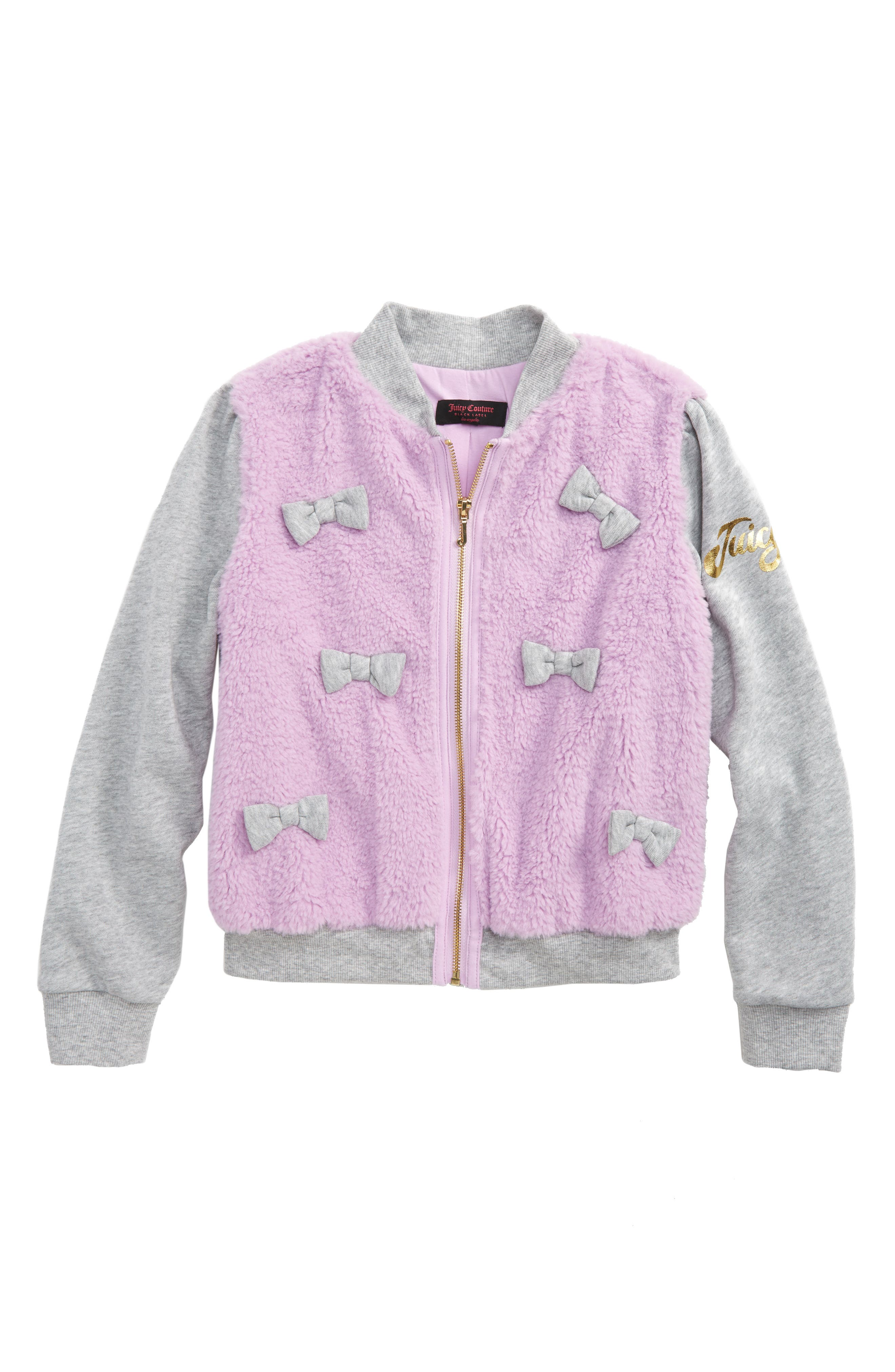 Main Image - Juicy Couture Mixed Media Bomber Jacket (Big Girls)