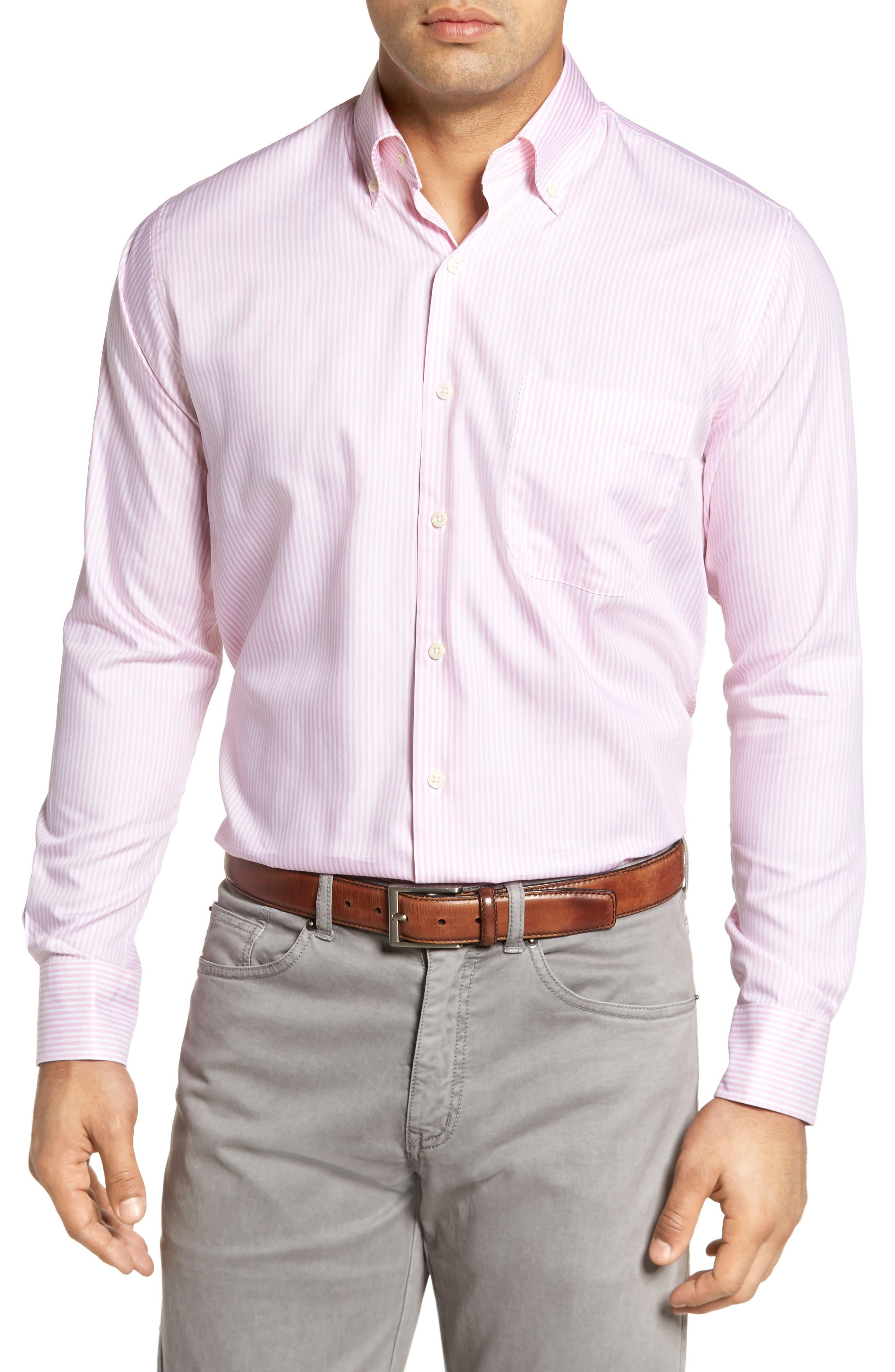 Classic Fit Crown Soft Longshot Stripe Sport Shirt,                             Main thumbnail 1, color,                             Piglet Pink