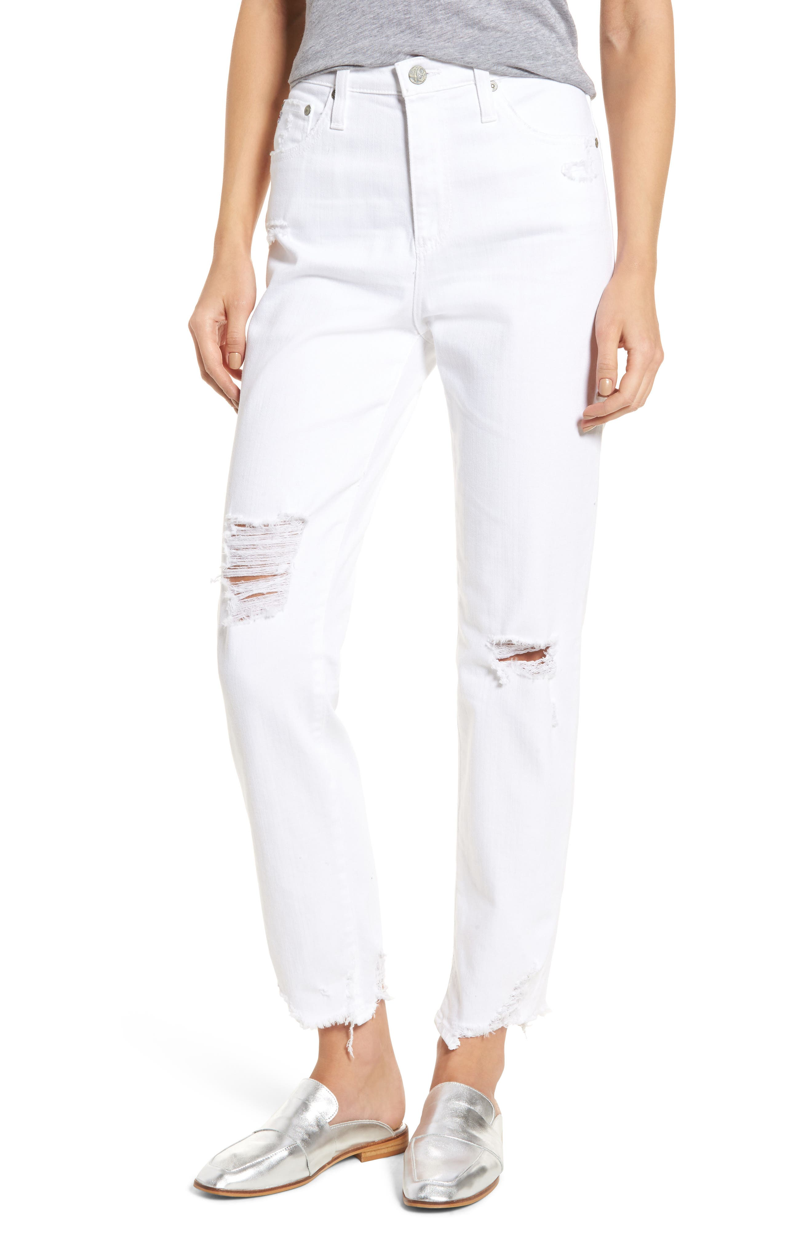 AG The Phoebe High Waist Straight Leg Jeans (5 Years Tattered White)