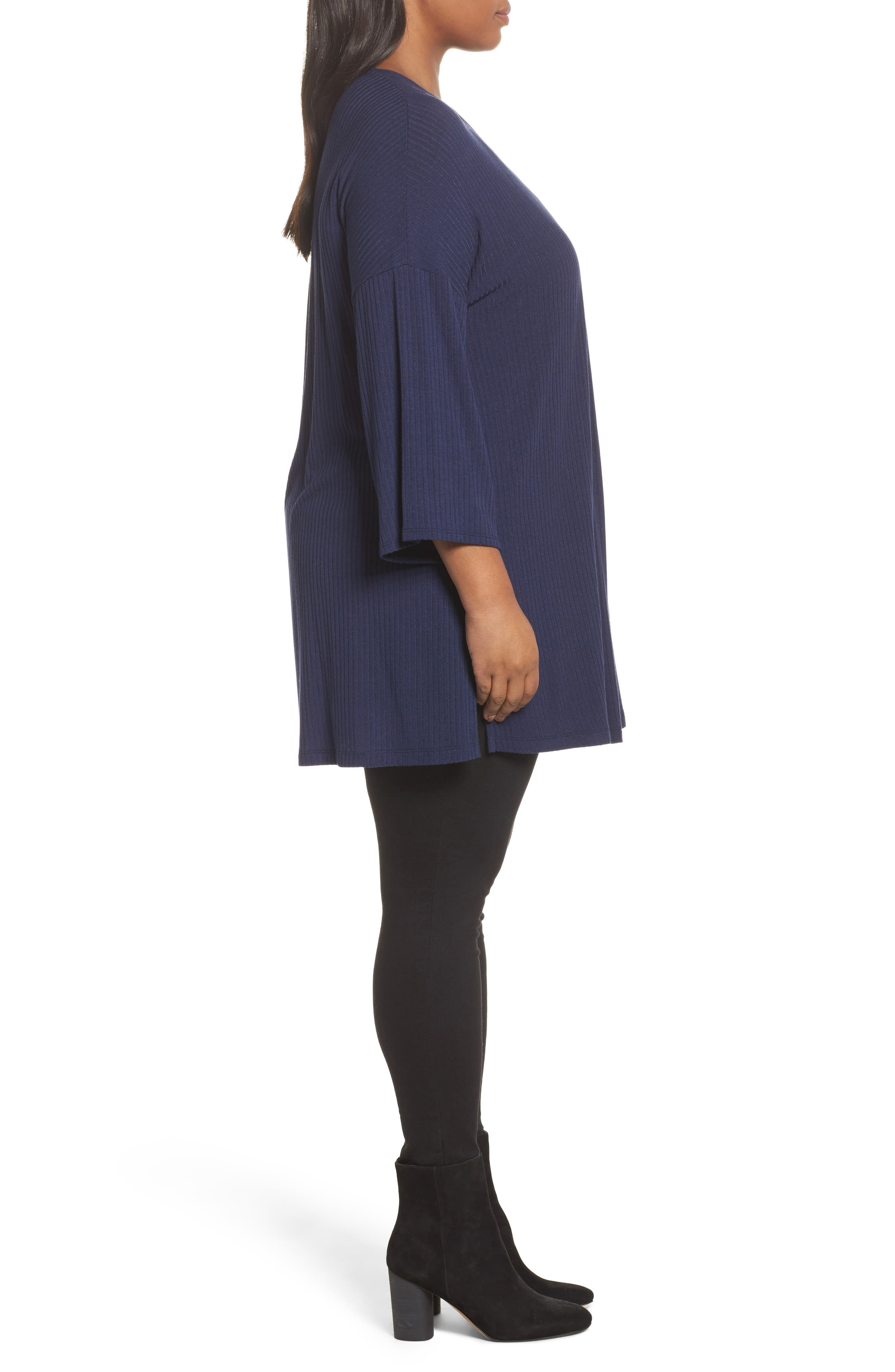 Ribbed Open-Front Cardigan,                             Alternate thumbnail 3, color,                             Navy Peacoat
