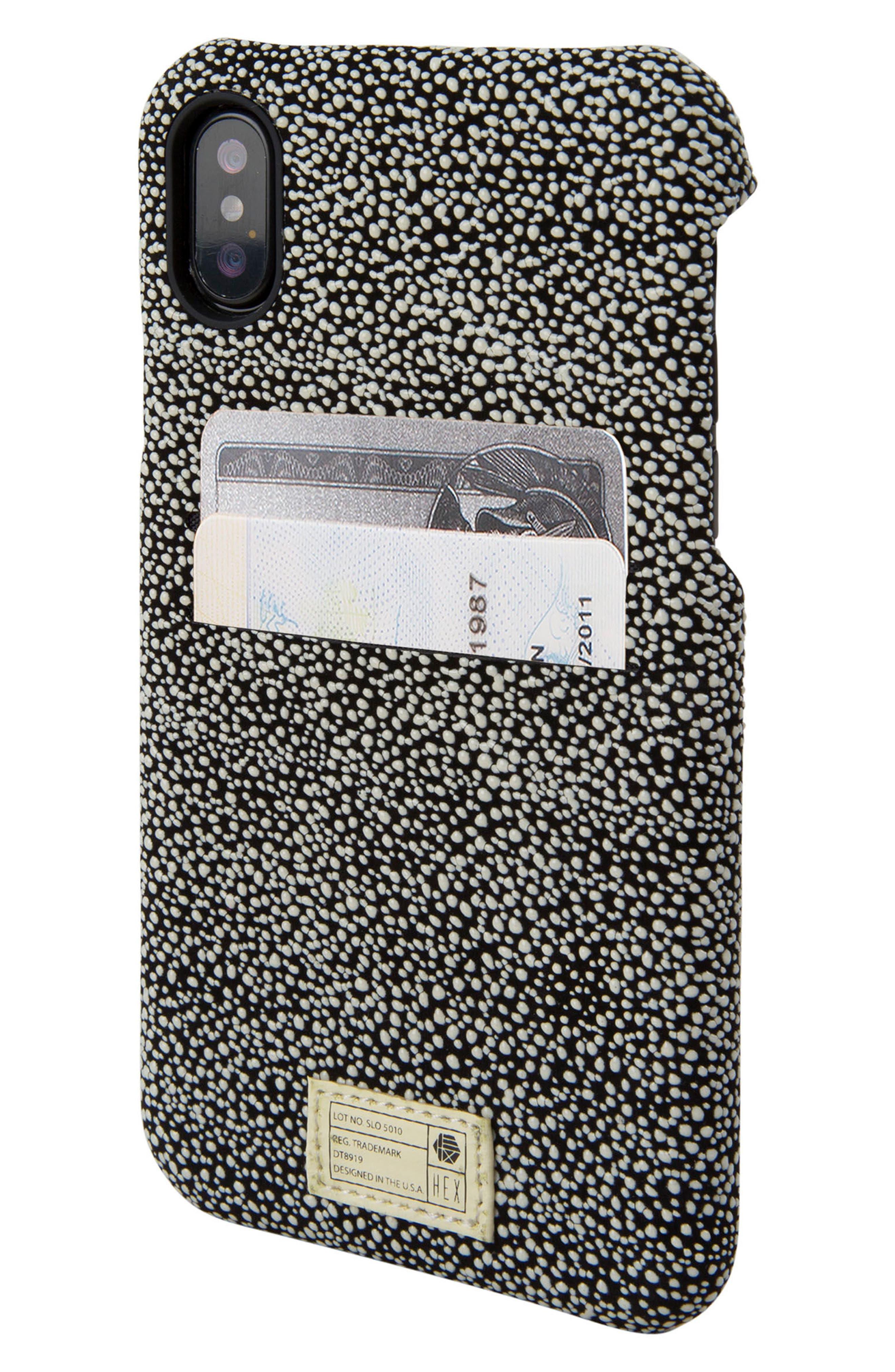Solo iPhone X Wallet Case,                             Alternate thumbnail 2, color,                             Black/ White Stingray