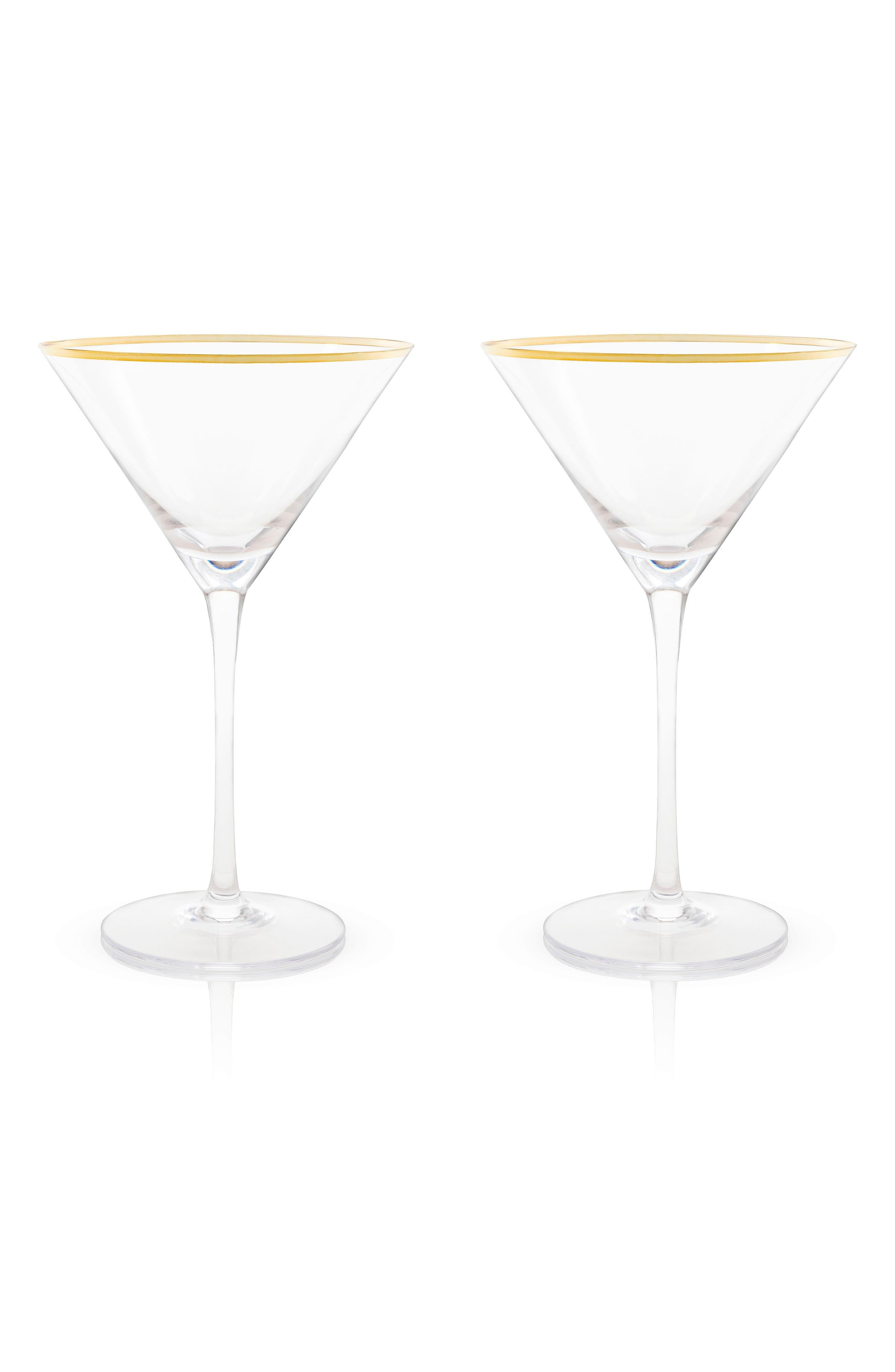 Set of 2 Gold Rim Martini Glasses,                         Main,                         color, White