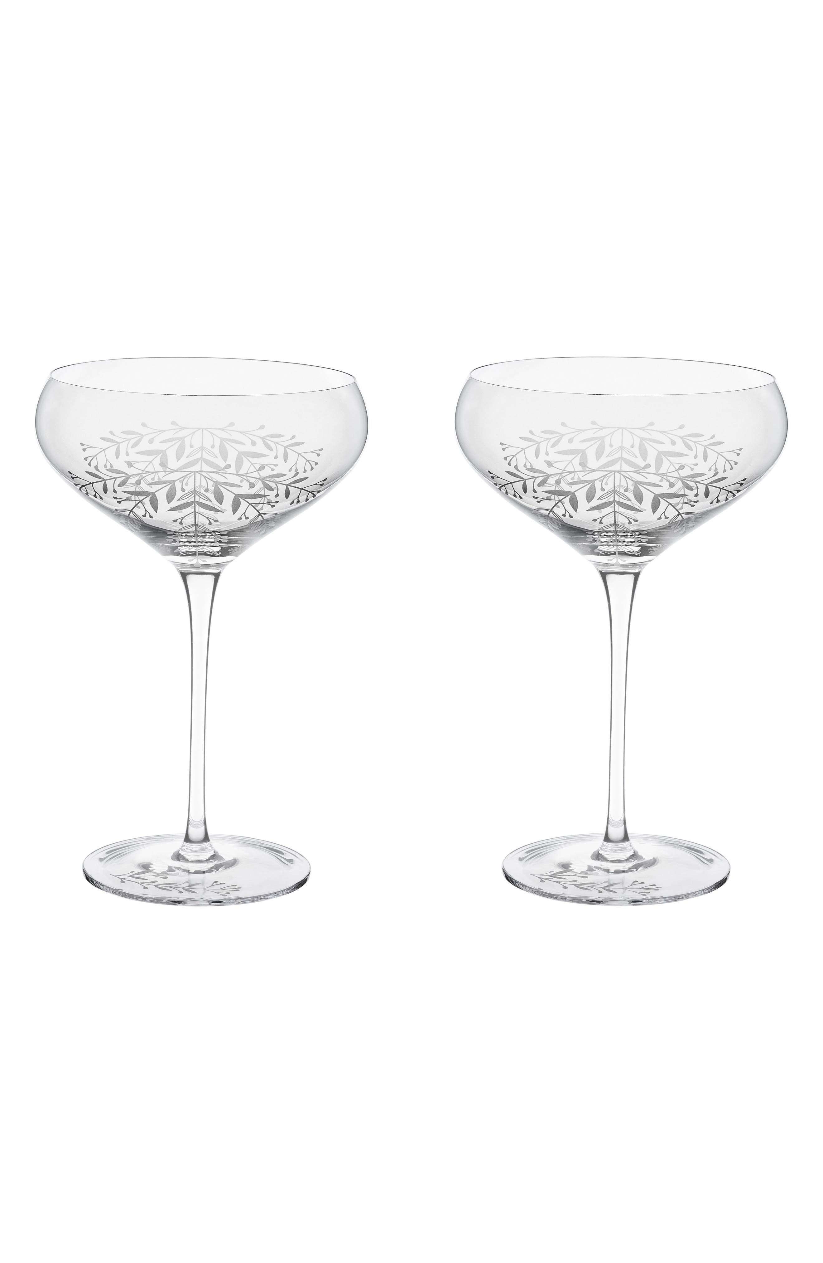 Floral Set of 2 Champagne Coupes,                         Main,                         color, White