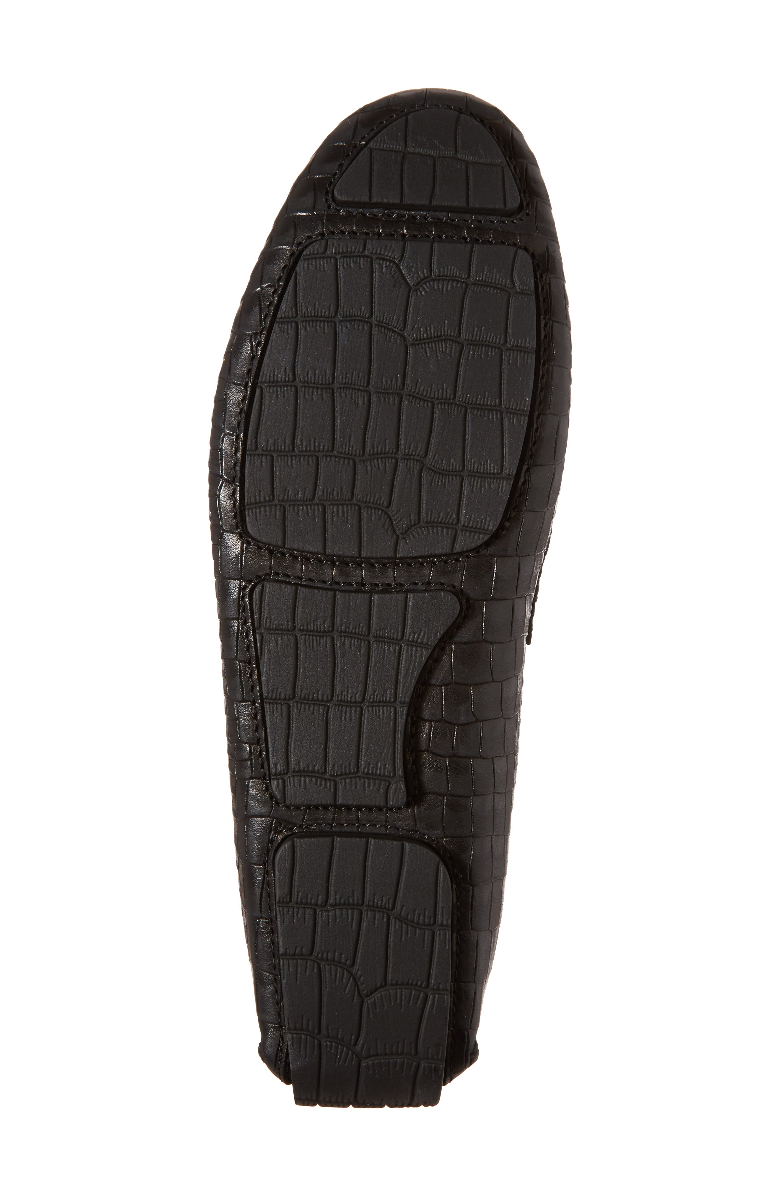 Brewer Croc Textured Driving Loafer,                             Alternate thumbnail 6, color,                             Black