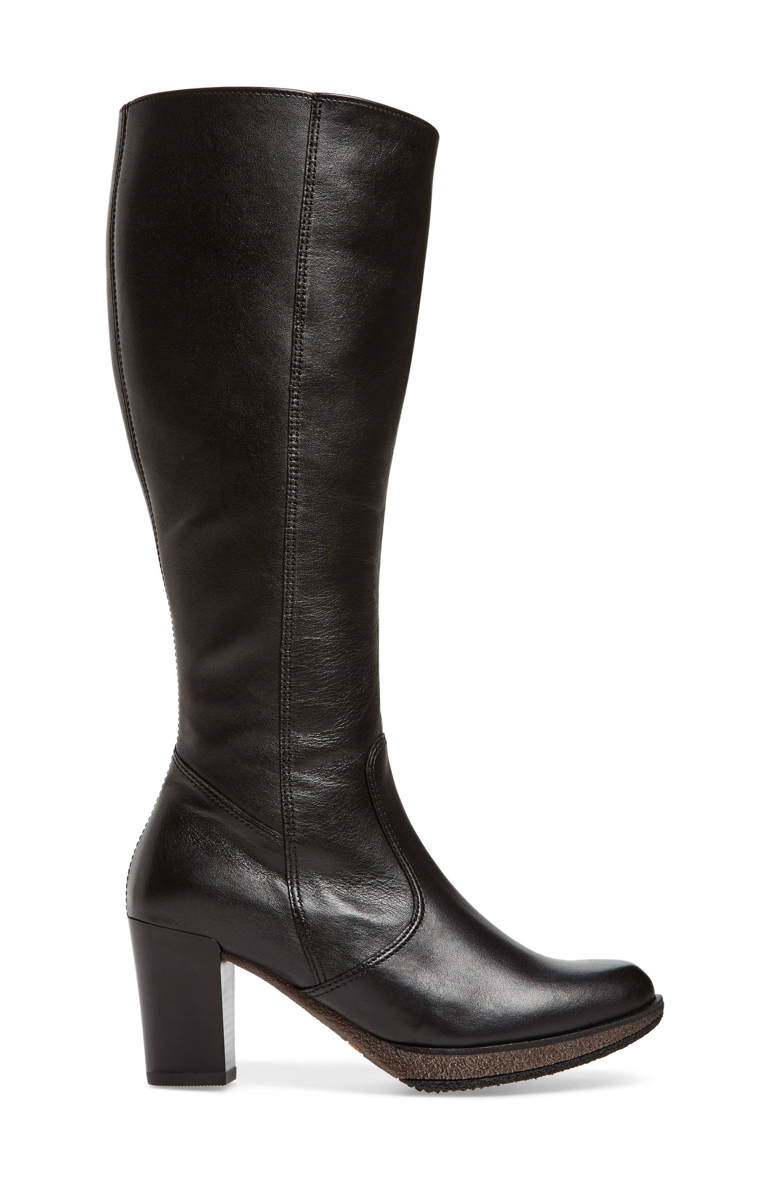 Bexley Knee High Boot,                             Alternate thumbnail 3, color,                             Black Leather