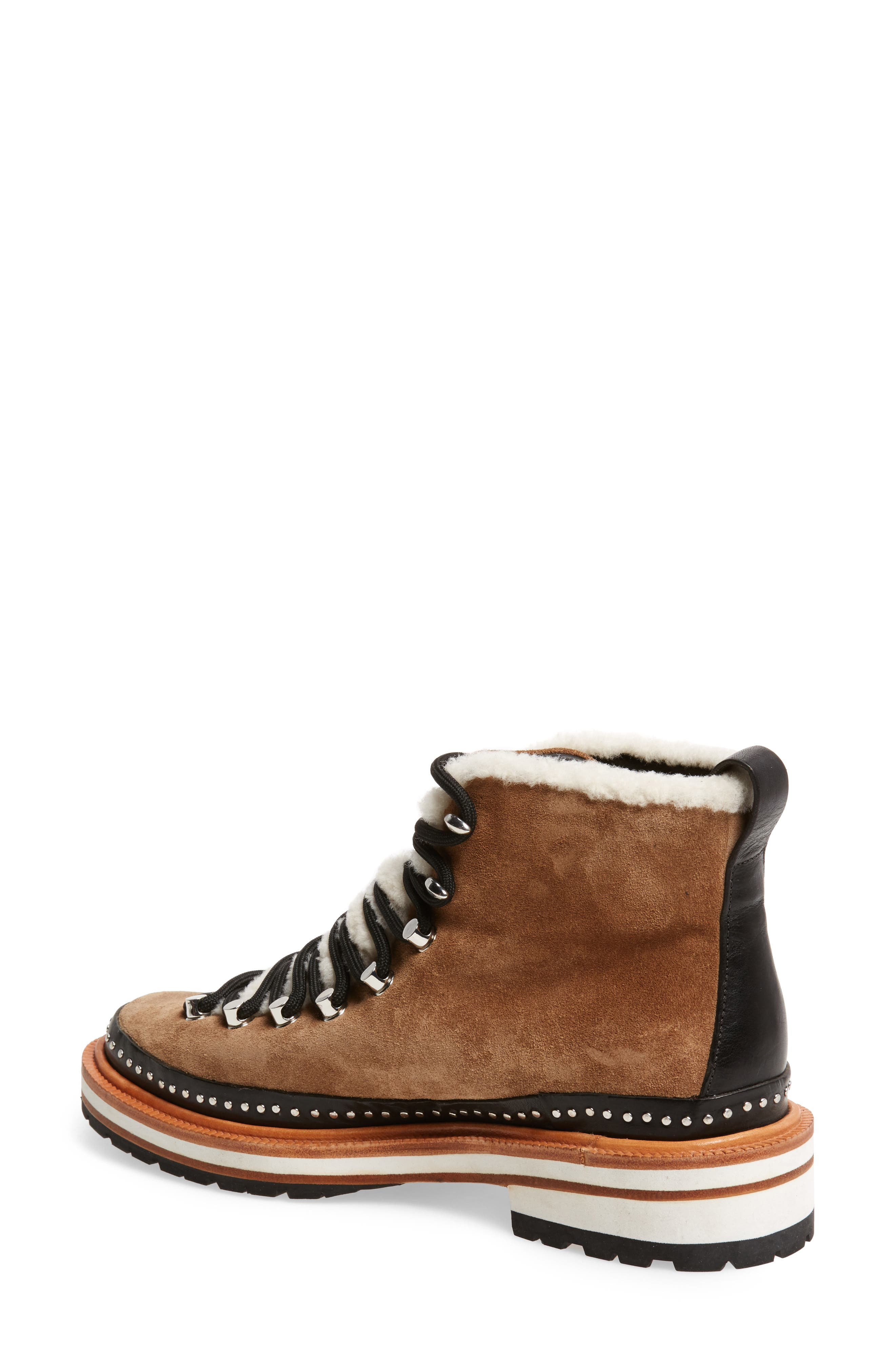 Compass Genuine Shearling Combat Boot,                             Alternate thumbnail 2, color,                             Camel