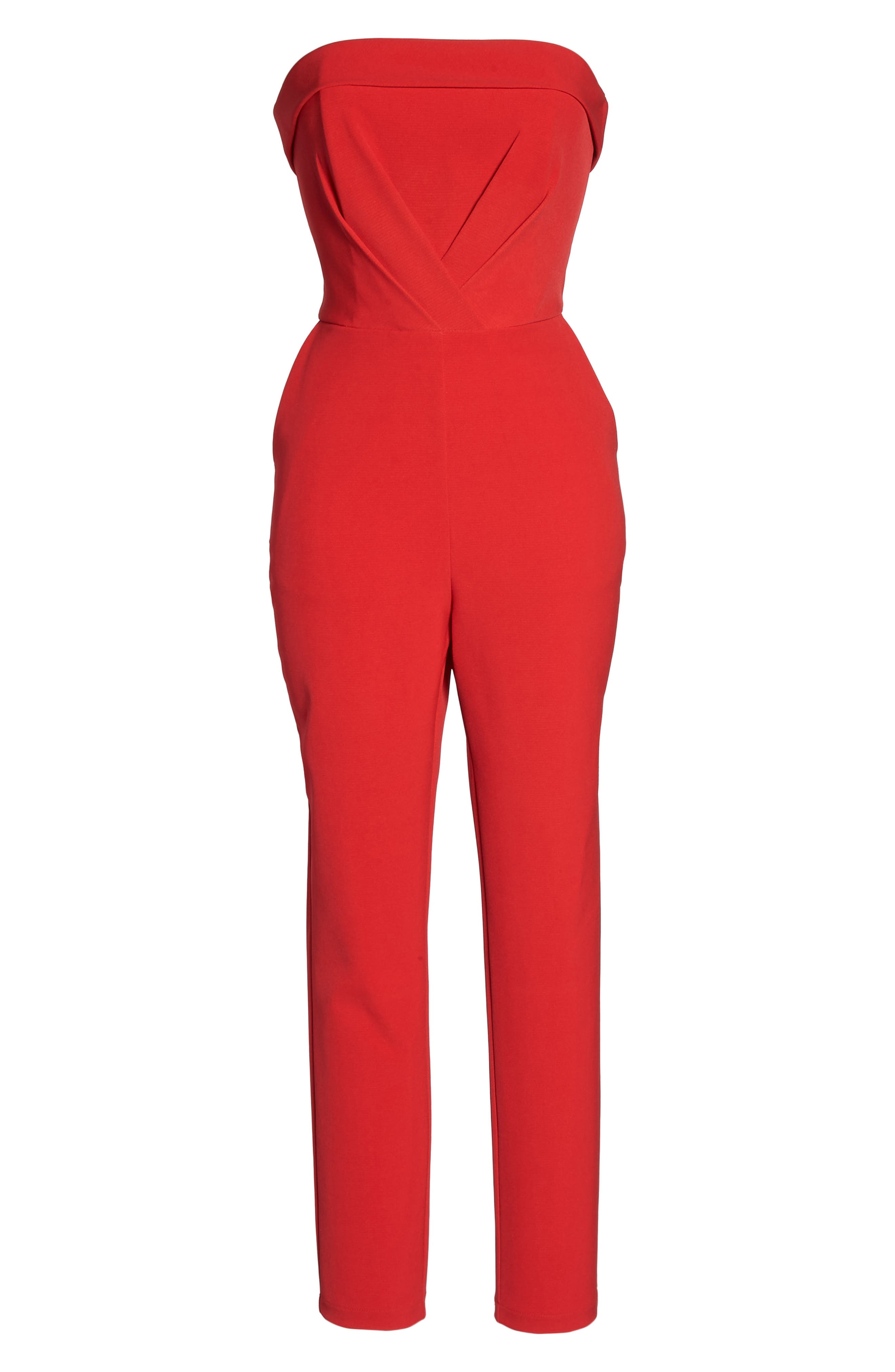 Malia Strapless Jumpsuit,                             Alternate thumbnail 6, color,                             Red