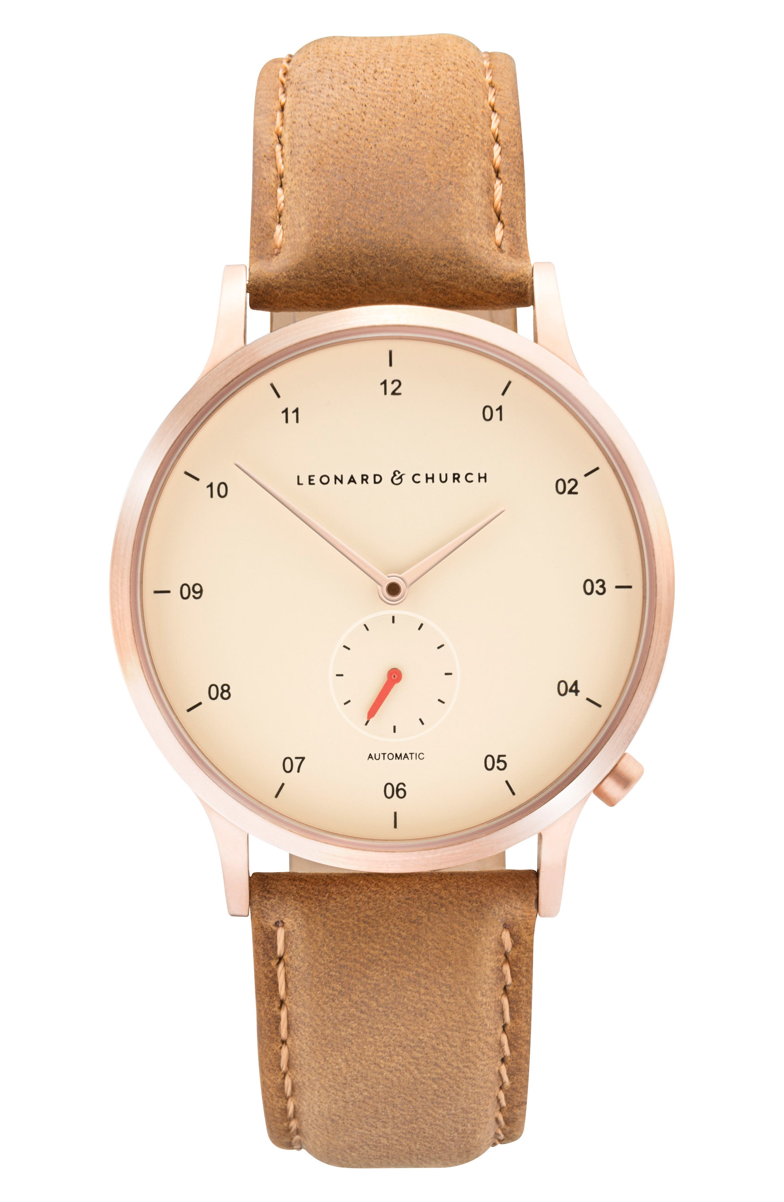 Leonard & Church Sullivan Automatic Suede Strap Watch, 39mm,                             Main thumbnail 1, color,                             Tan/ Rose Gold