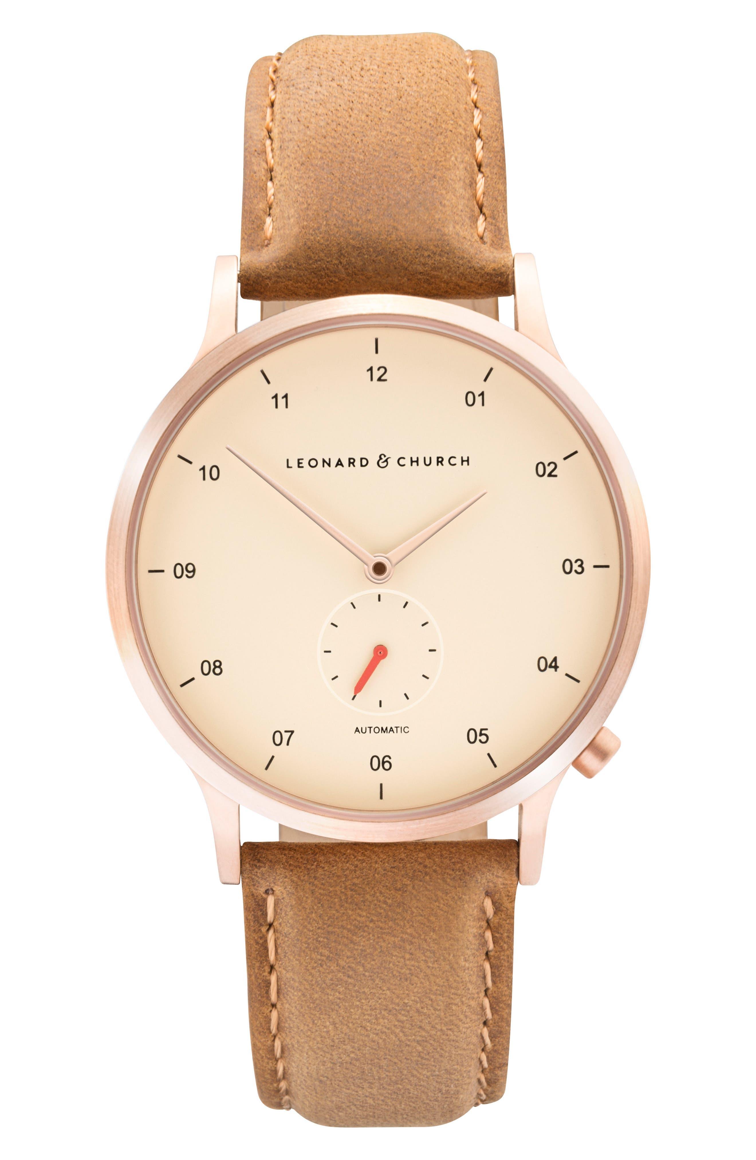 Leonard & Church Sullivan Automatic Suede Strap Watch, 39mm,                         Main,                         color, Tan/ Rose Gold