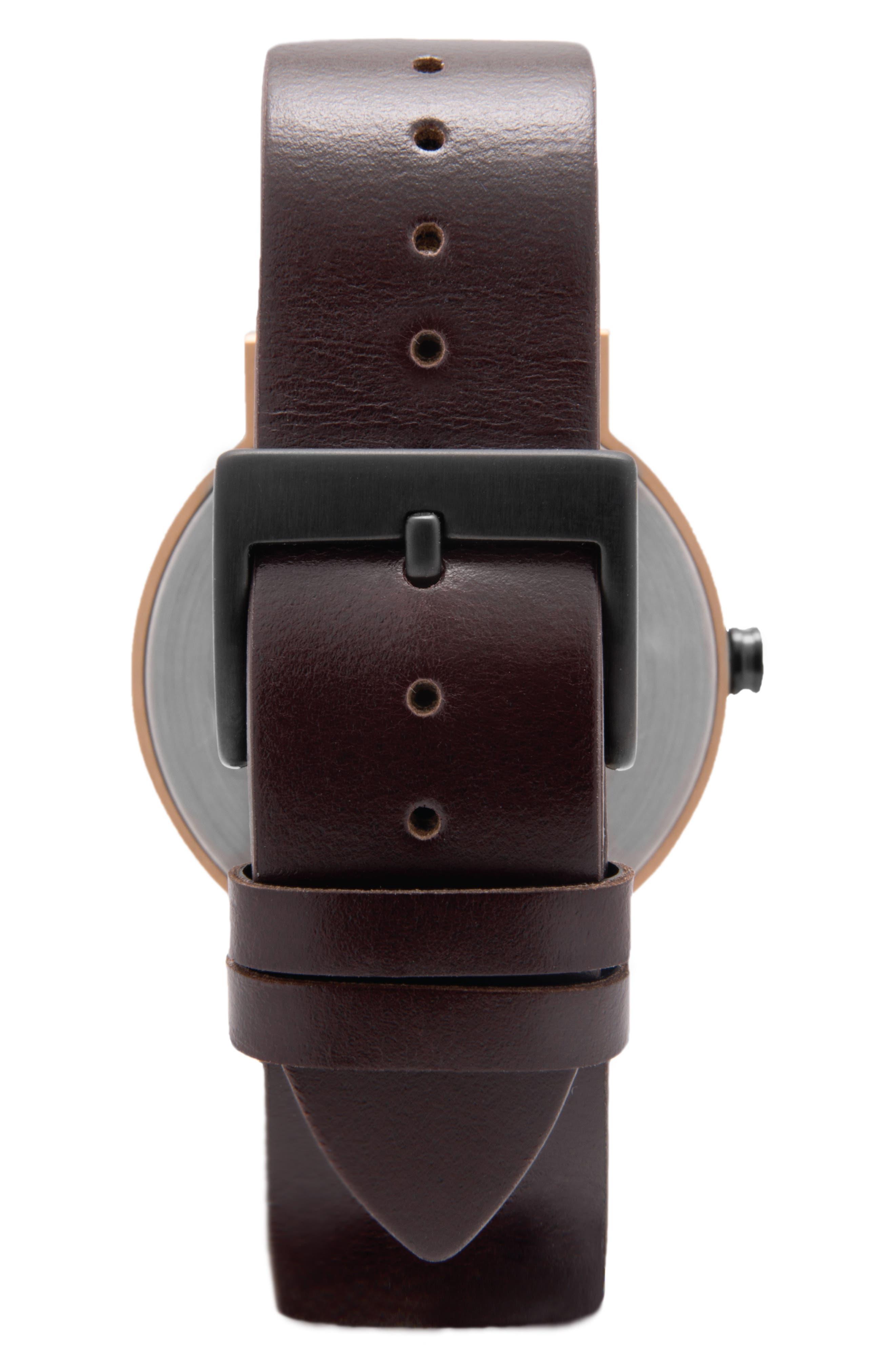 Leonard & Church Thompson Leather Strap Watch, 40mm,                             Alternate thumbnail 3, color,                             Coffee/ Black/ Rose Gold