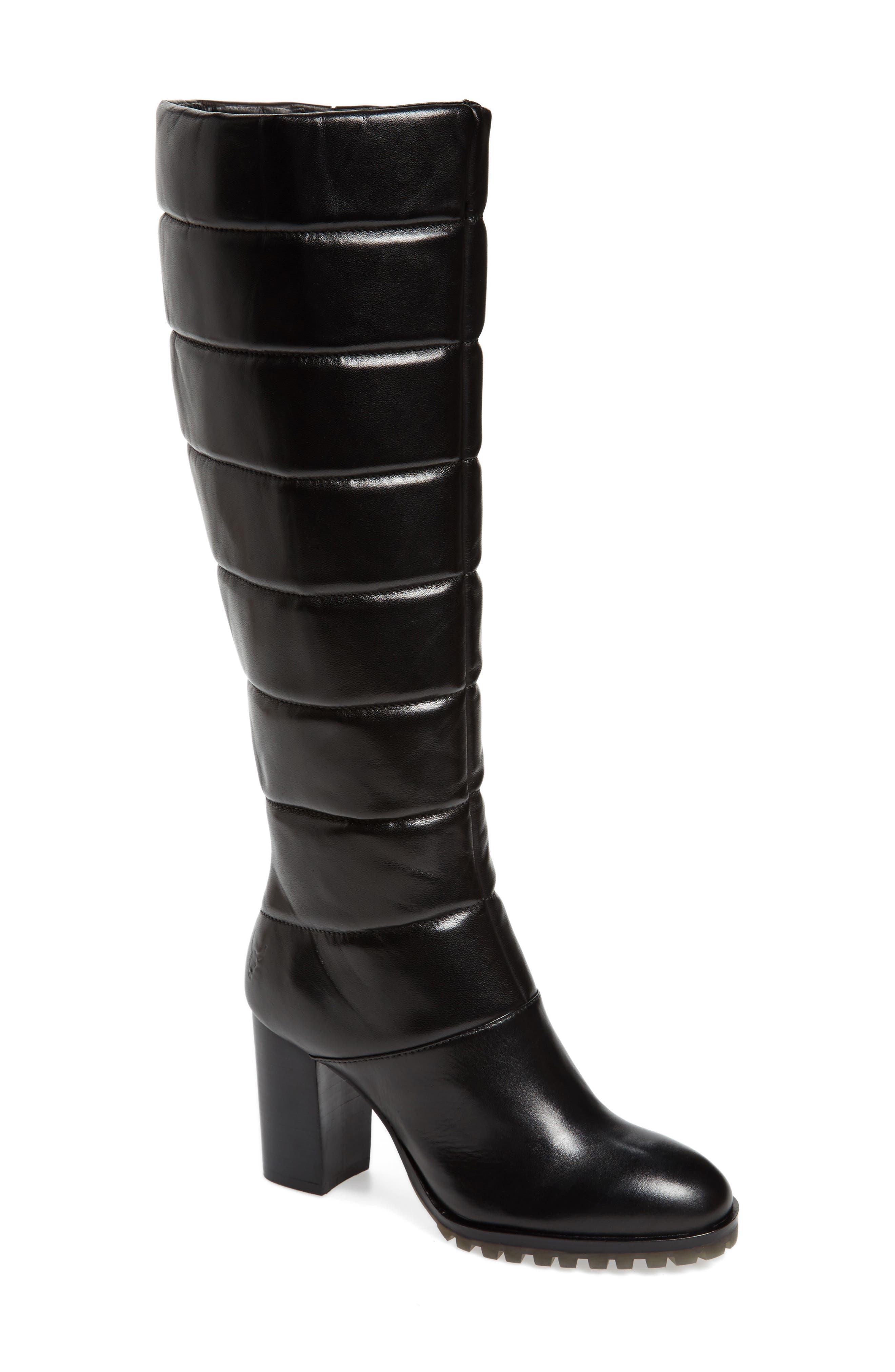 Tropia Knee High Boot,                             Main thumbnail 1, color,                             Black Leather