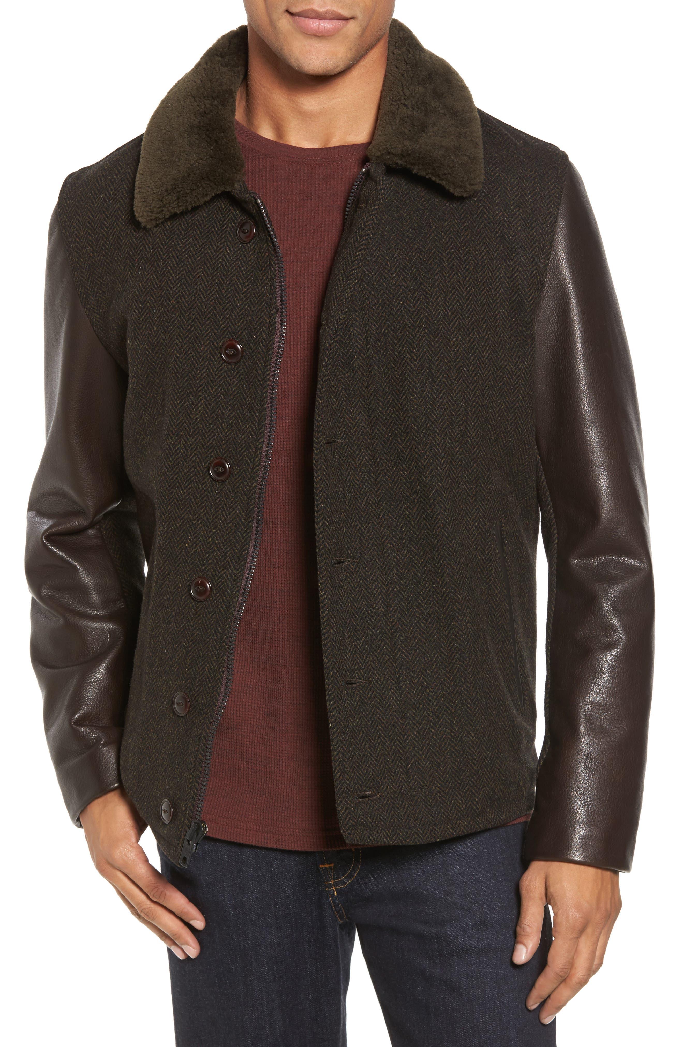 Genuine Shearling Collar N-1 Deck Jacket,                         Main,                         color, Olive