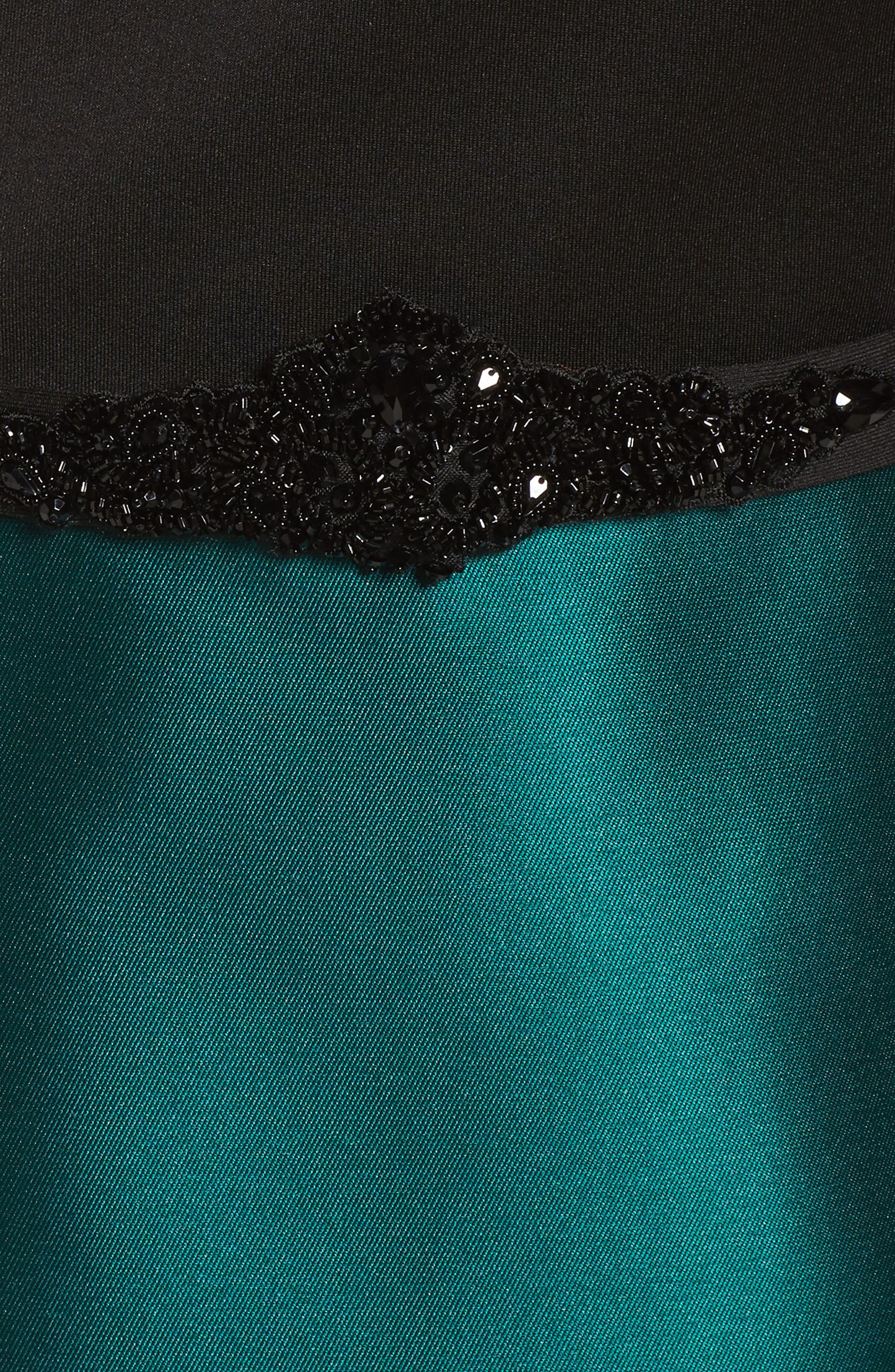 Mixed Media Off the Shoulder Trumpet Gown,                             Alternate thumbnail 5, color,                             Black Emerald