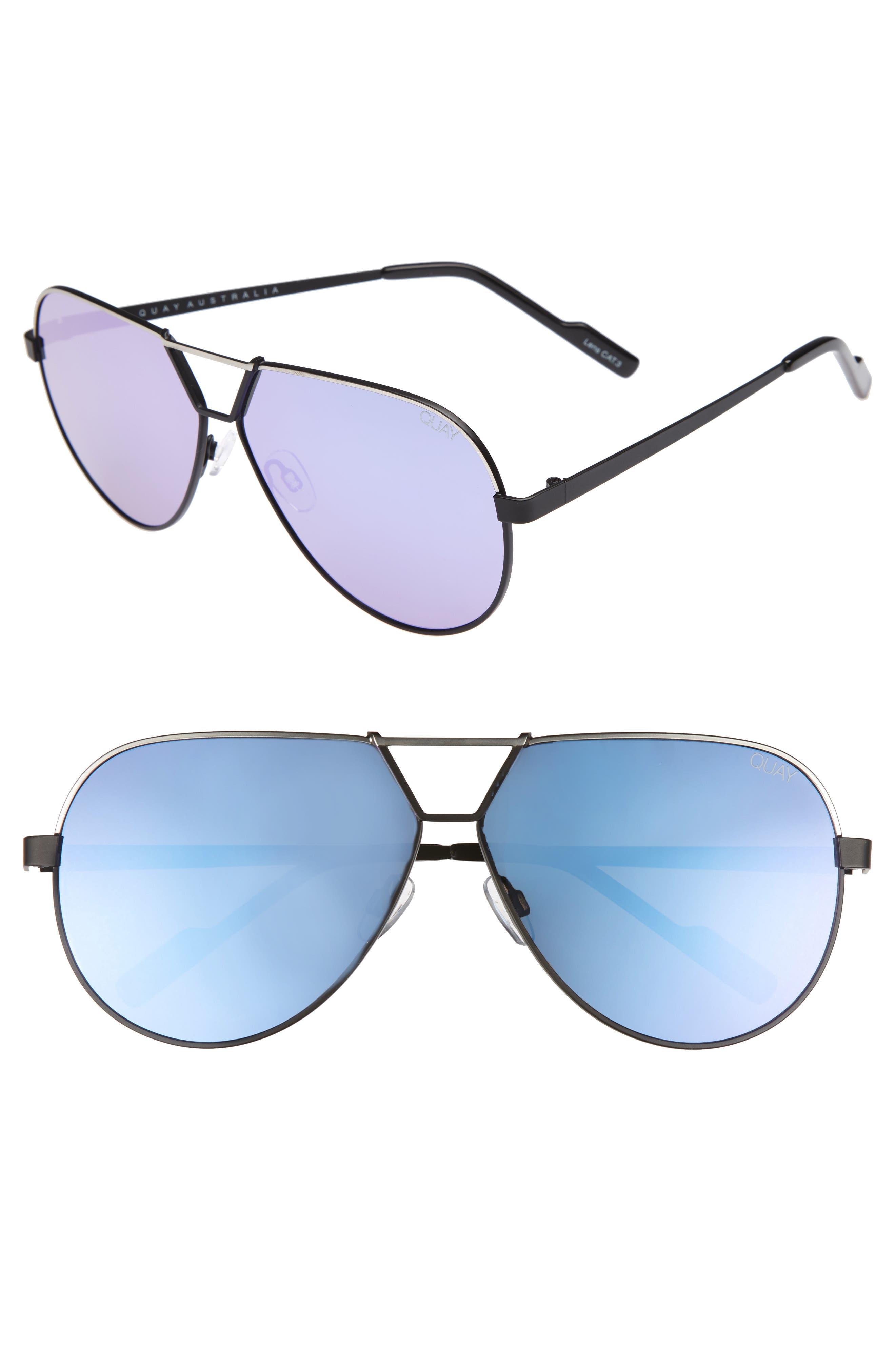 Supernova 63mm Aviator Sunglasses,                         Main,                         color, Black/ Silver/ Purple