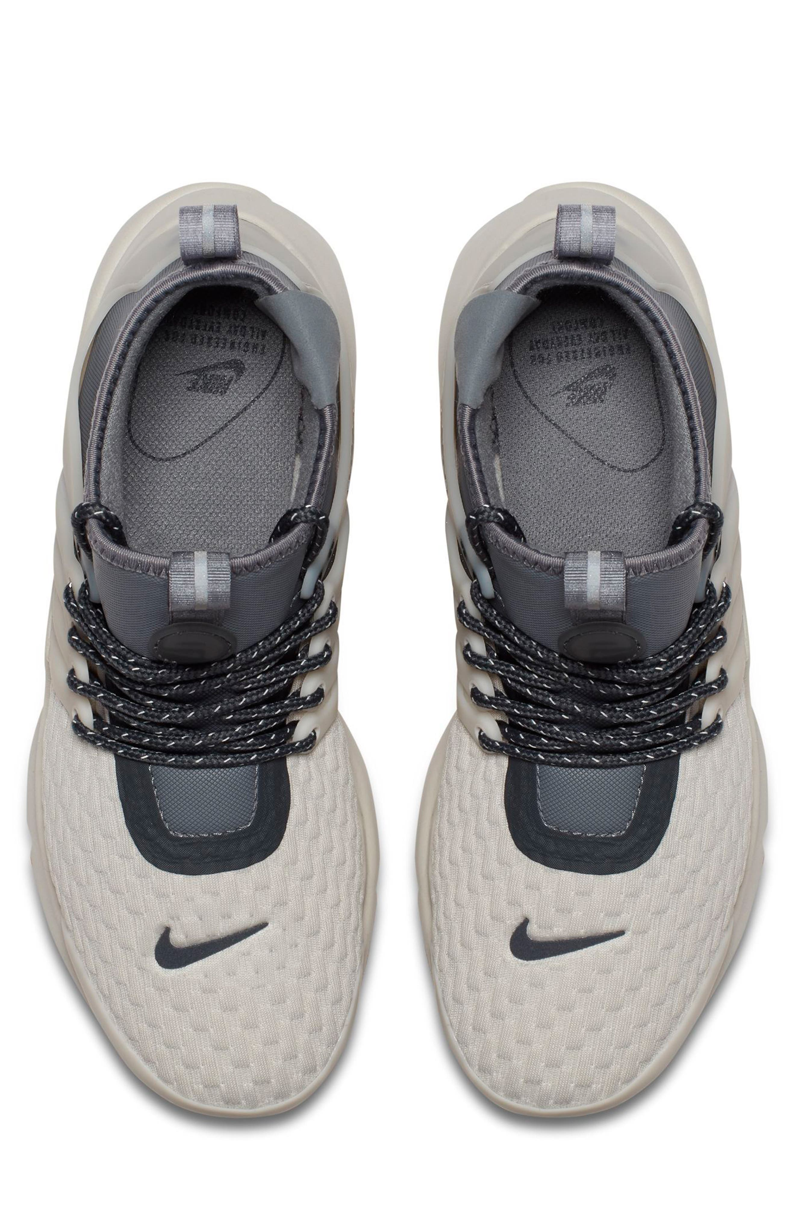 Air Presto Mid Utility Water Repellent Sneaker,                             Alternate thumbnail 4, color,                             Light Bone/ Cool Grey