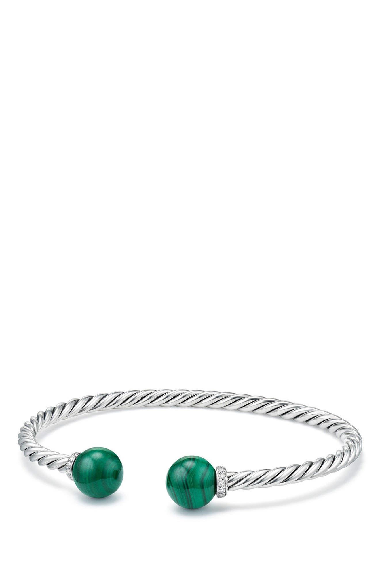 Solari Bead Bracelet with Diamonds,                             Main thumbnail 1, color,                             Silver/ Diamond/ Malachite
