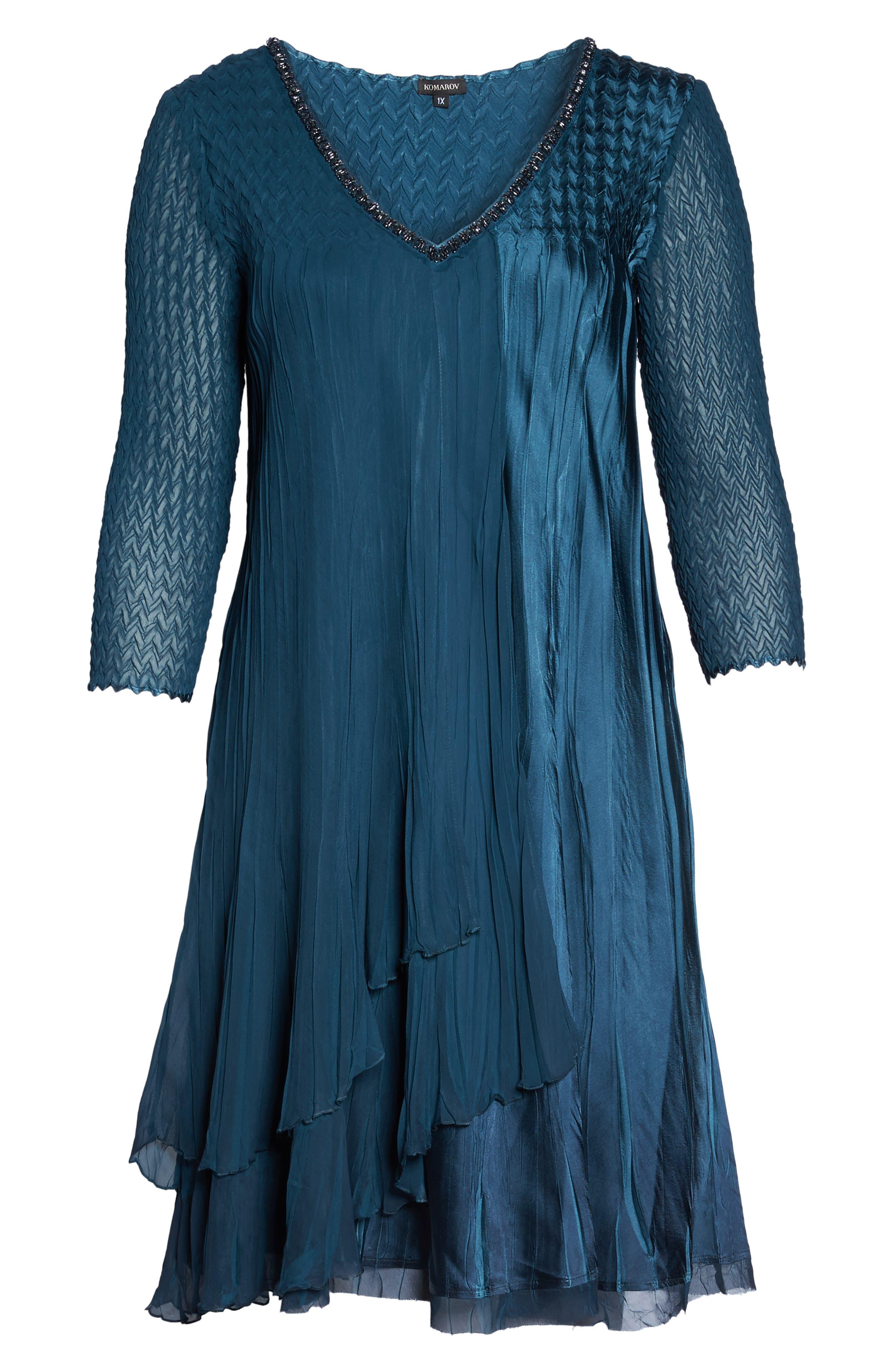 Alternate Image 6  - Komarov Beaded Neck Chiffon Dress (Plus Size)