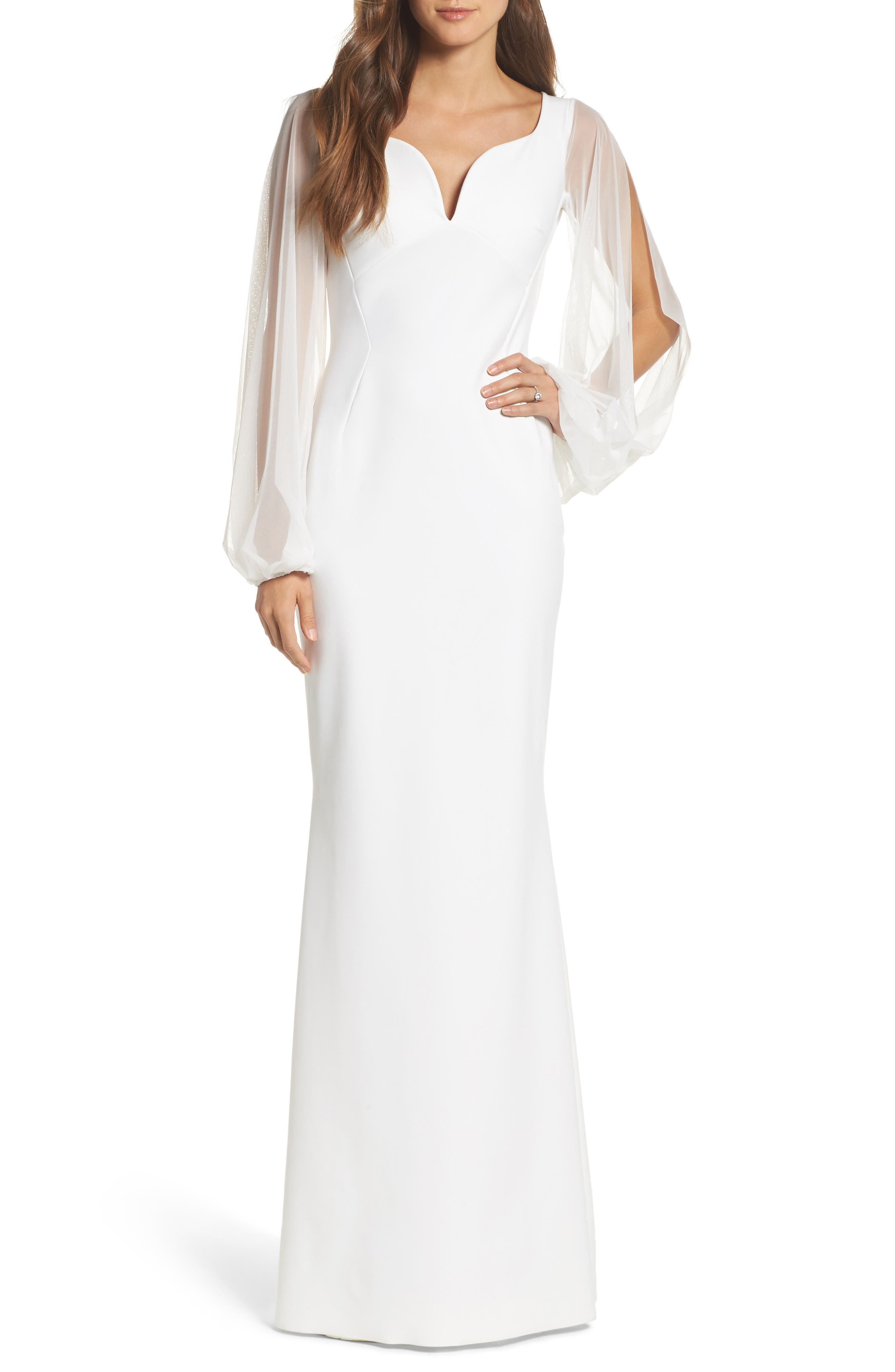Dress Cutwork Back Gown,                         Main,                         color, White