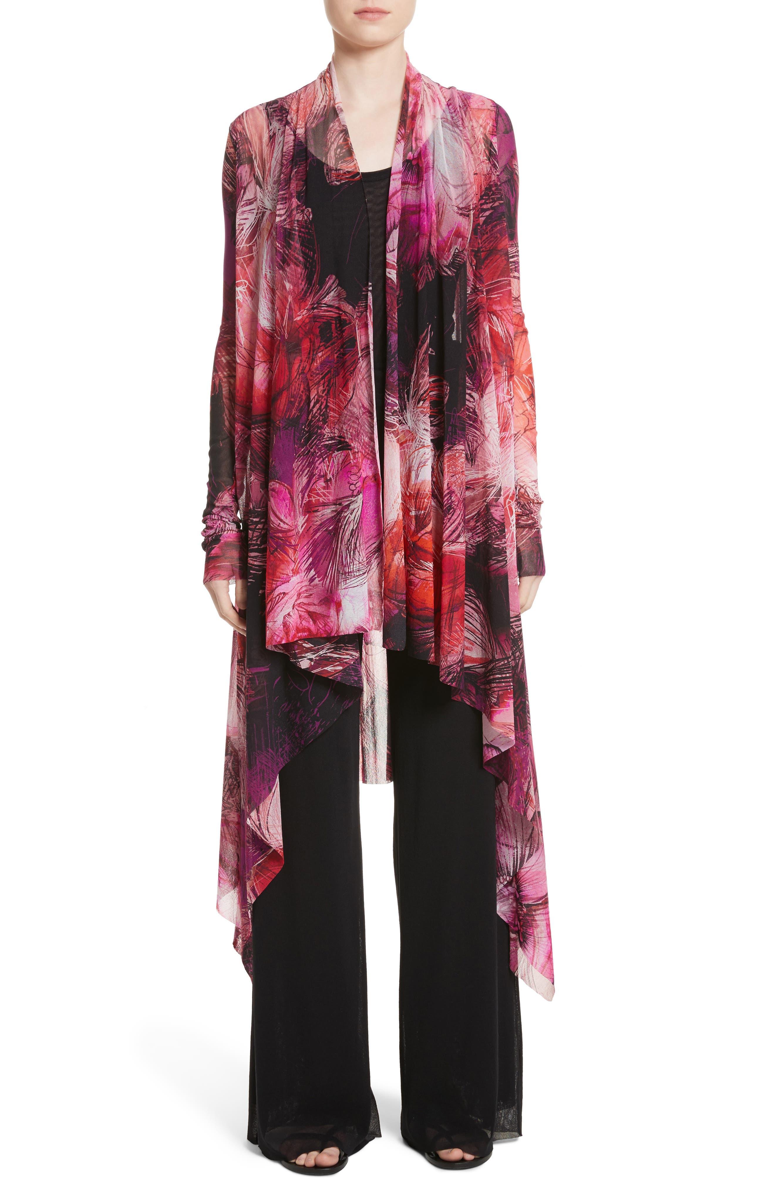 Print Tulle Waterfall Hem Cardigan,                         Main,                         color, Pink/Purple