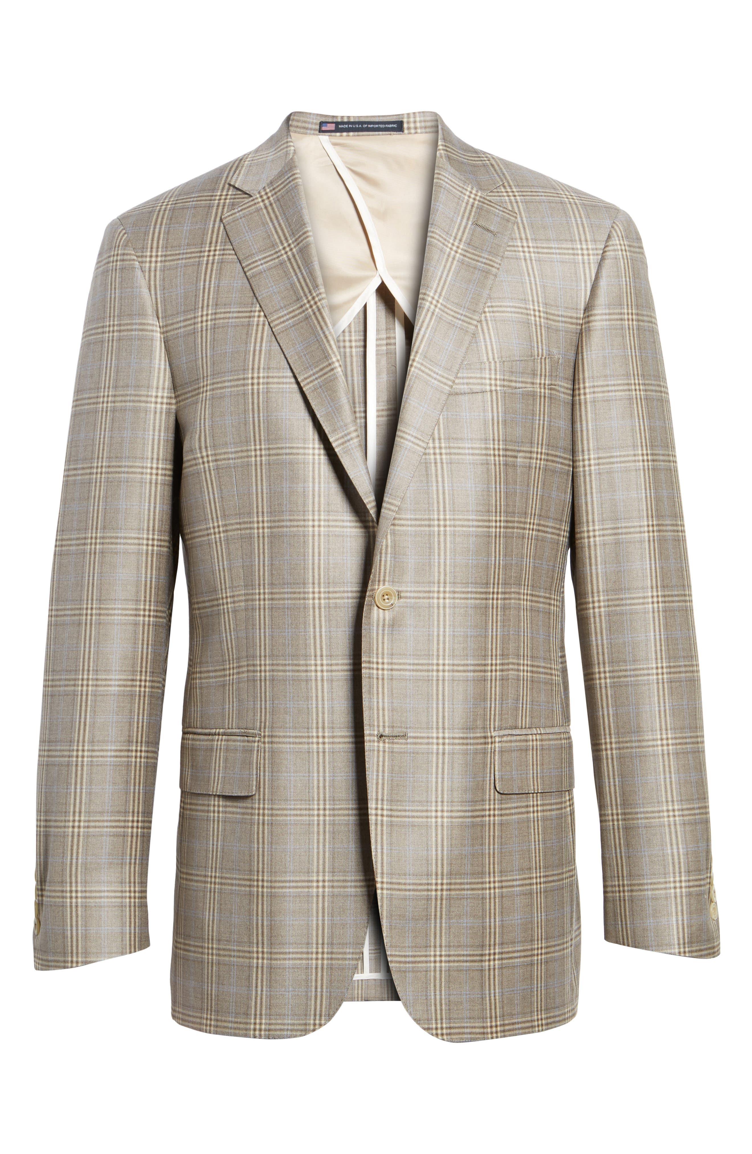 Classic Fit Plaid Wool Sport Coat,                             Alternate thumbnail 6, color,                             Light Brown