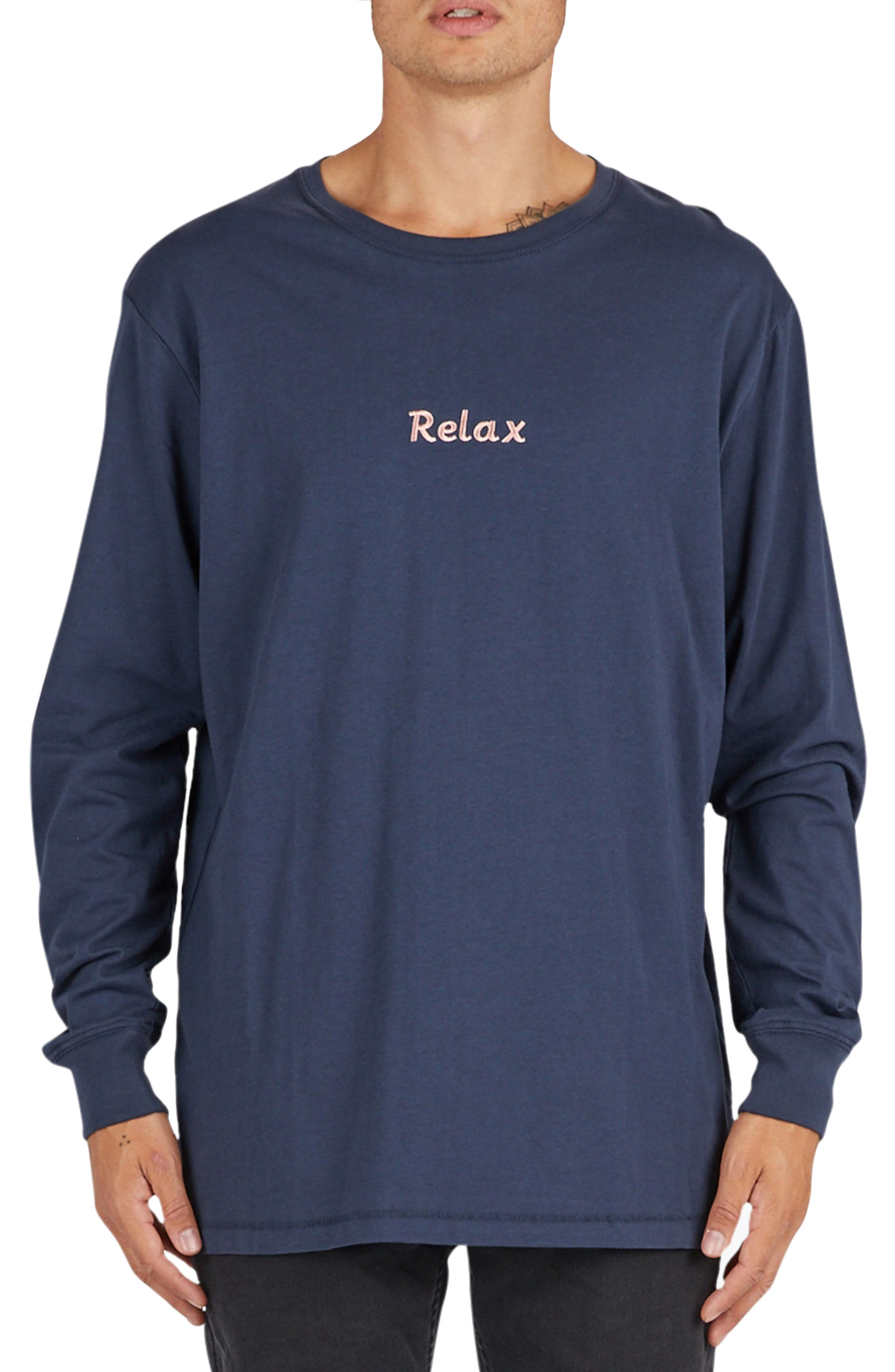 Relax Embroidered Long Sleeve T-Shirt,                         Main,                         color, Slate