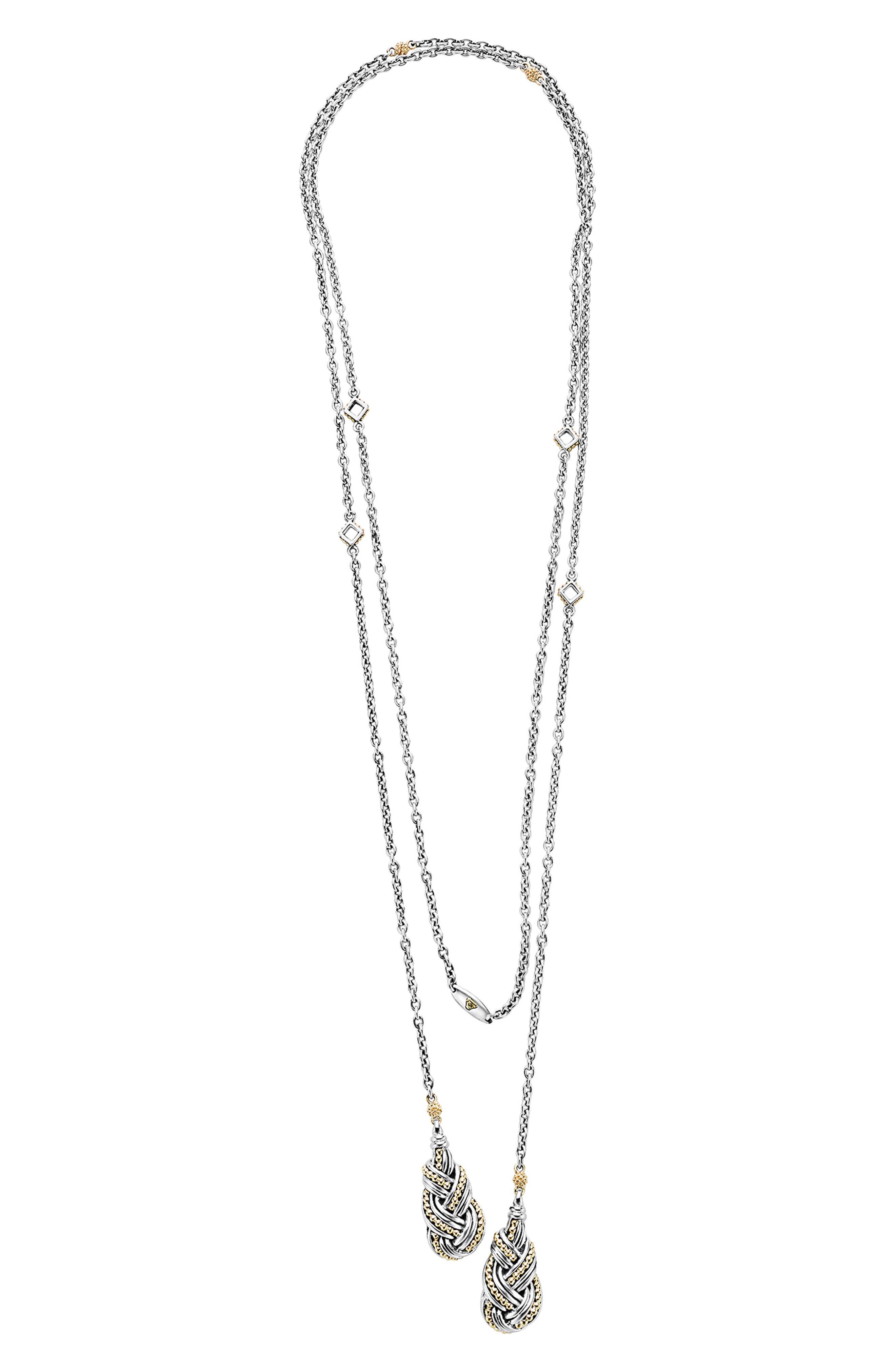 Torsade Lariat Necklace,                             Main thumbnail 1, color,                             Silver/ Gold