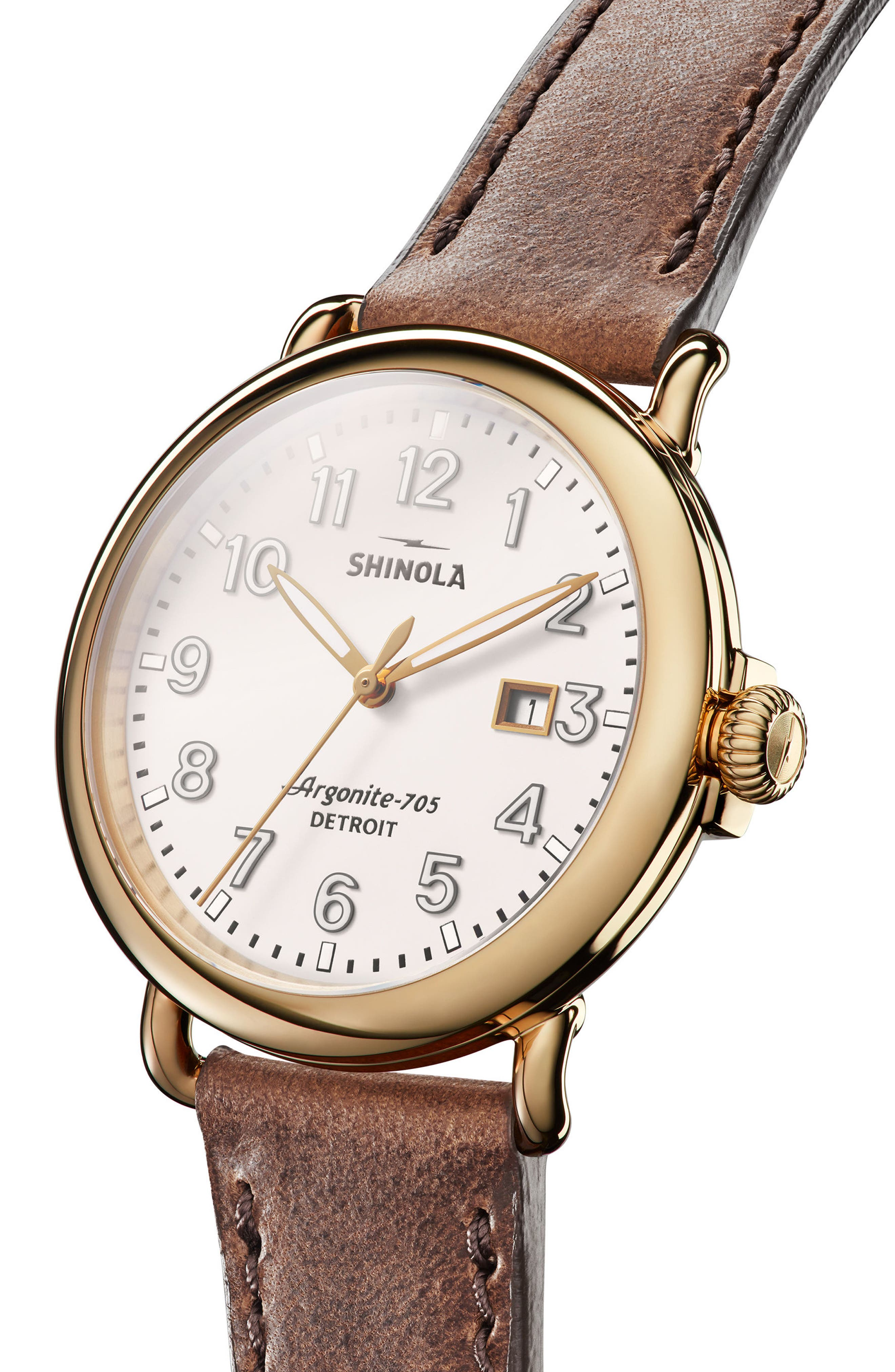 The Runwell Leather Strap Watch, 41mm,                             Alternate thumbnail 4, color,                             Brown/ Beige/ Gold